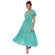 Vestido Midi Transpassado Estampado Floral Verde