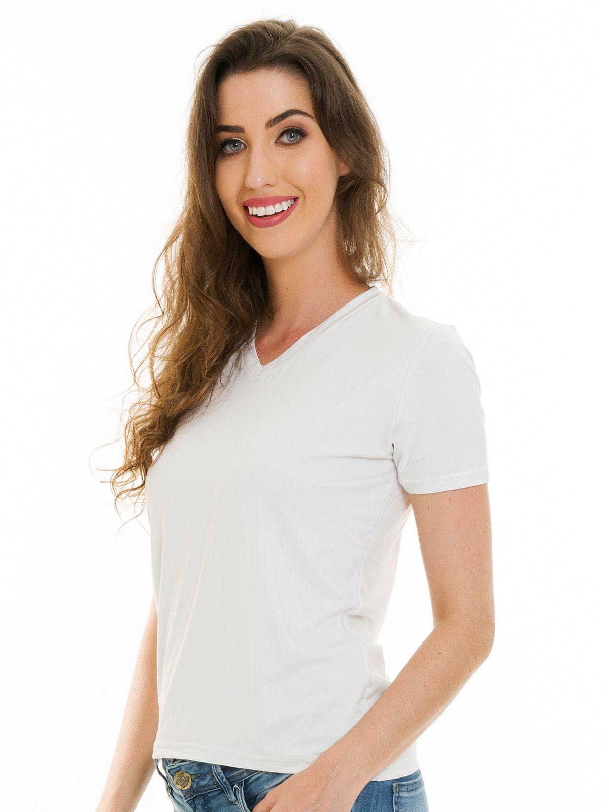 Blusa Básica Decote V Branca