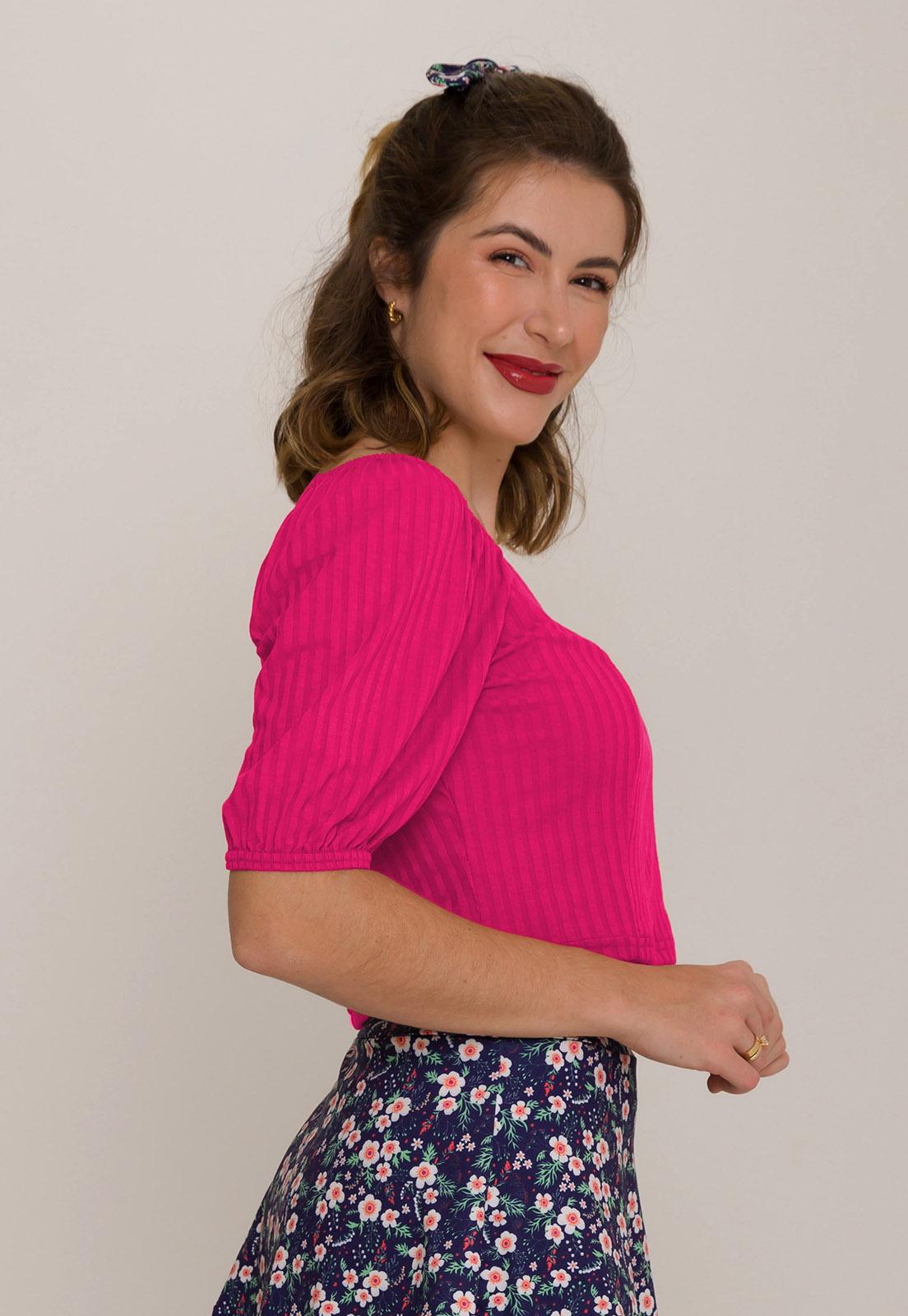Blusa Canelada Decote Princesa Pink