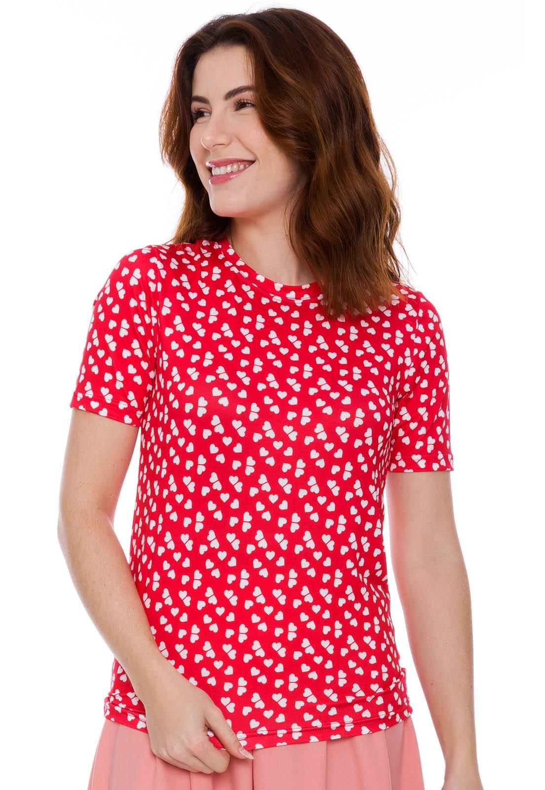 Blusa T-shirt Estampado Coração
