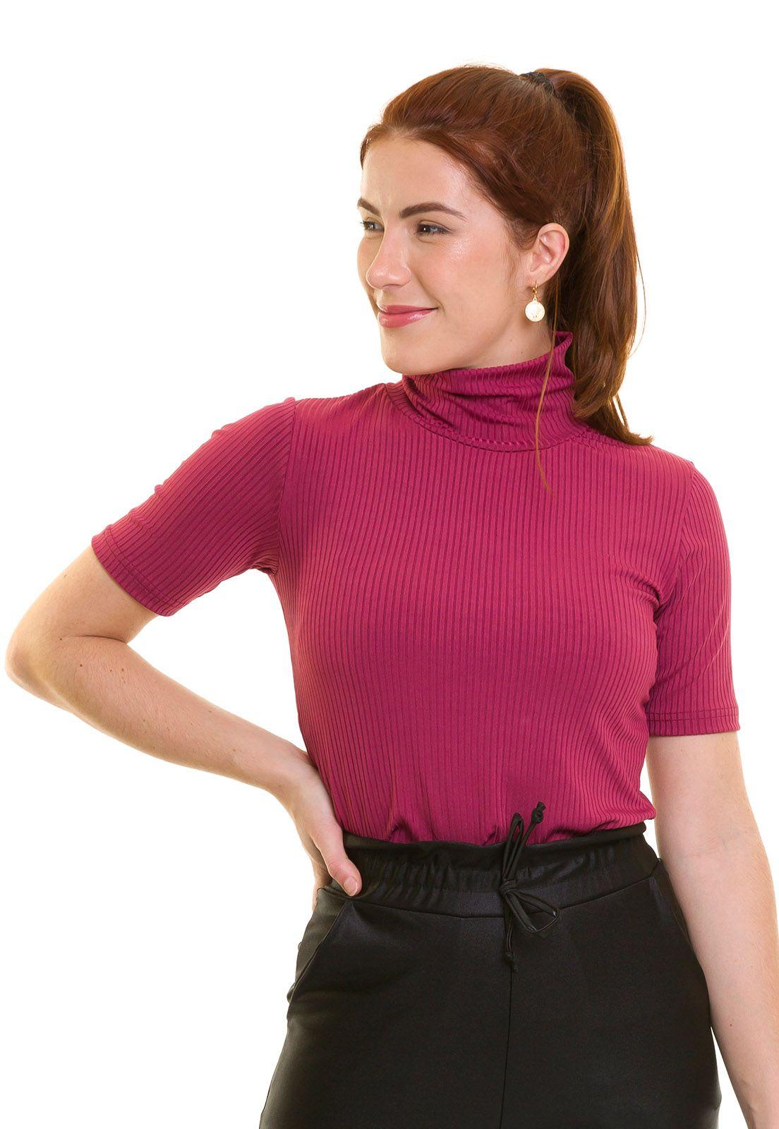 Blusa Gola Alta Canelada  Manga Curta Rosa escuro