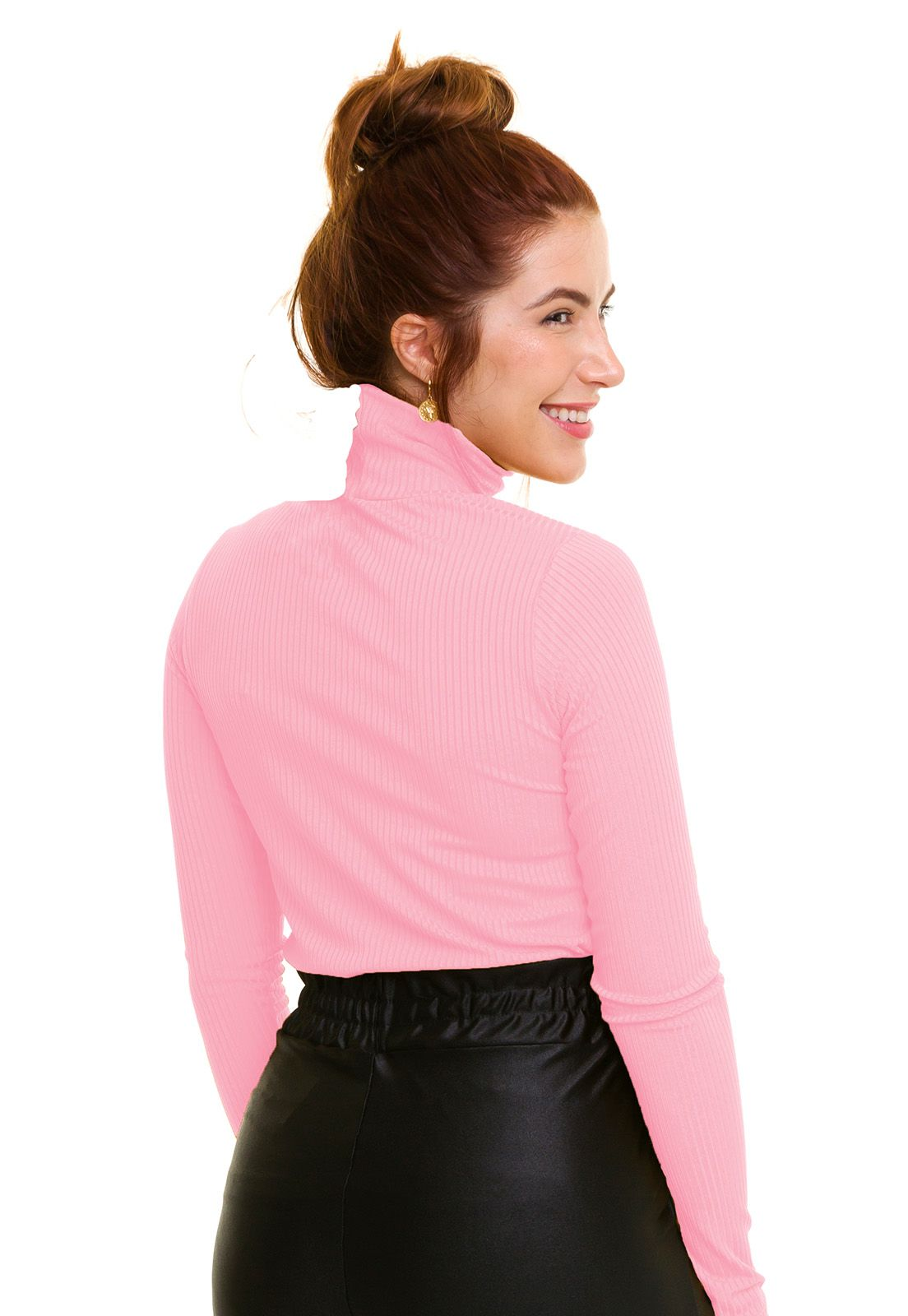 Blusa Gola Alta Canelada Rosa Claro