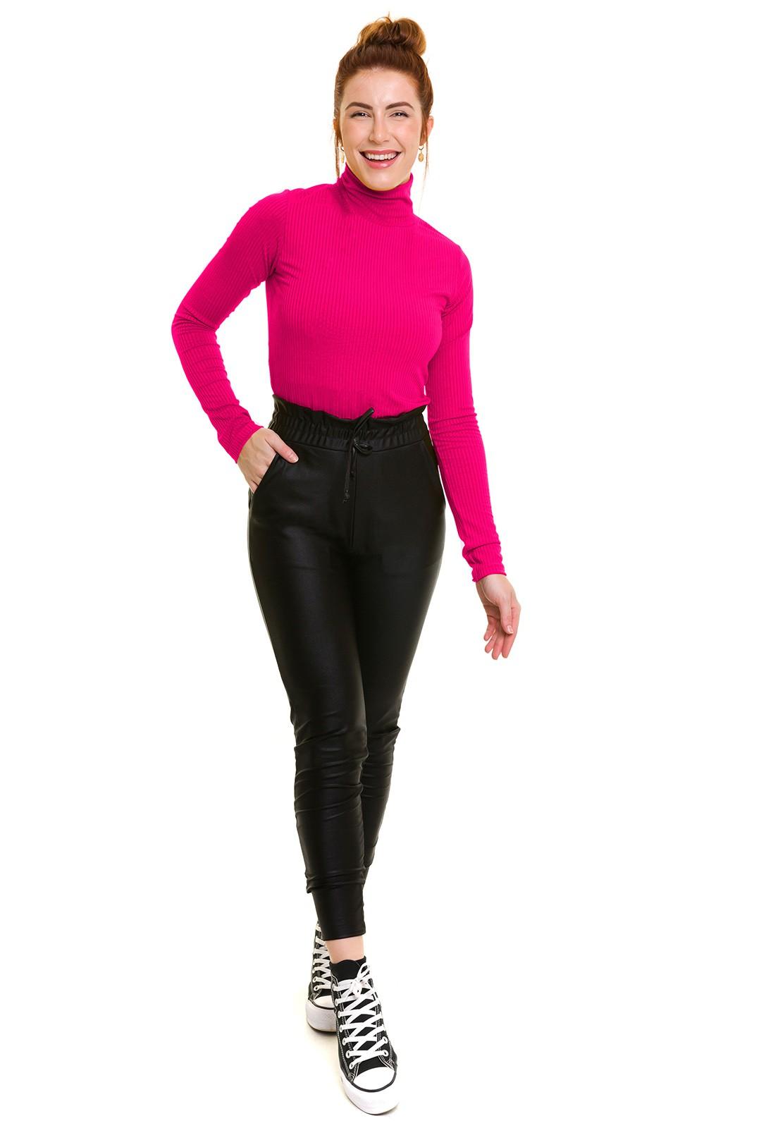Blusa Gola Alta Canelada Rosa Pink