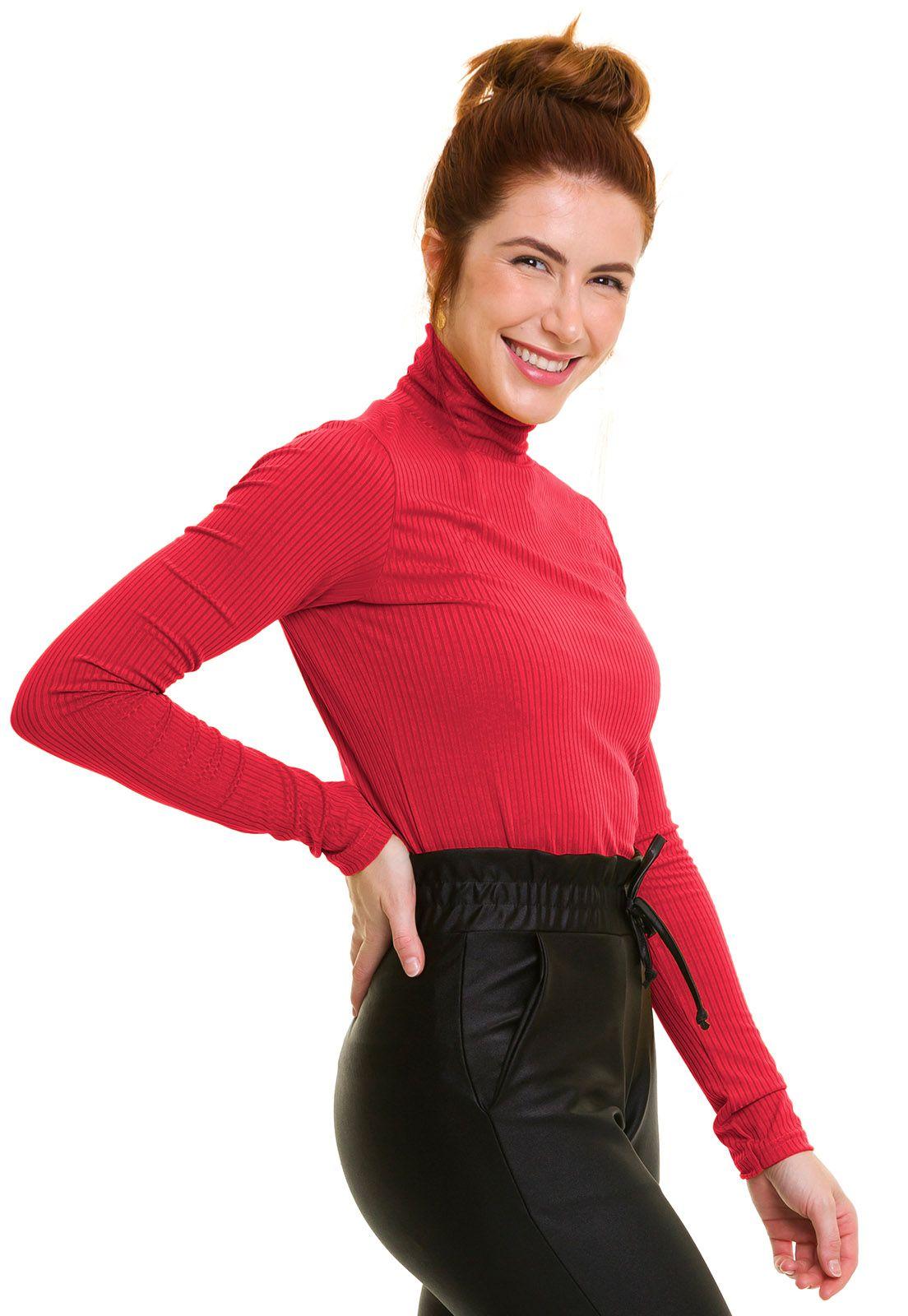 Blusa Gola Alta Canelada Vermelha