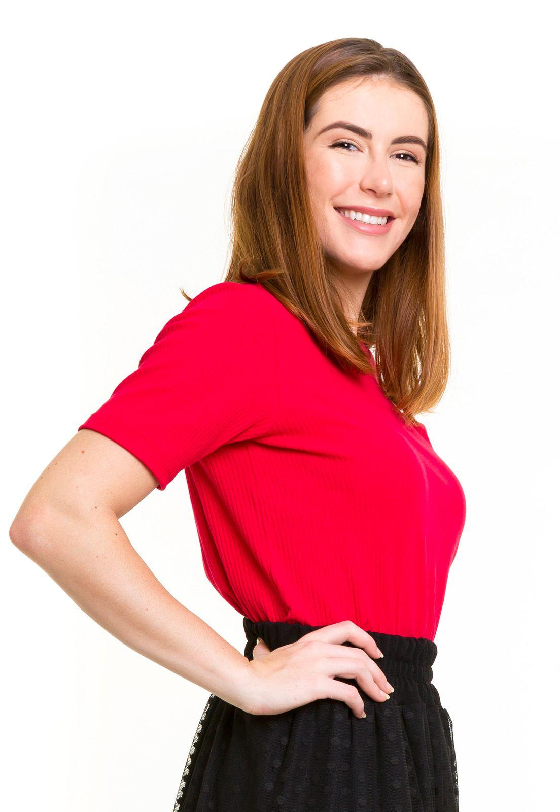 Blusa Malha Canelada Vermelha