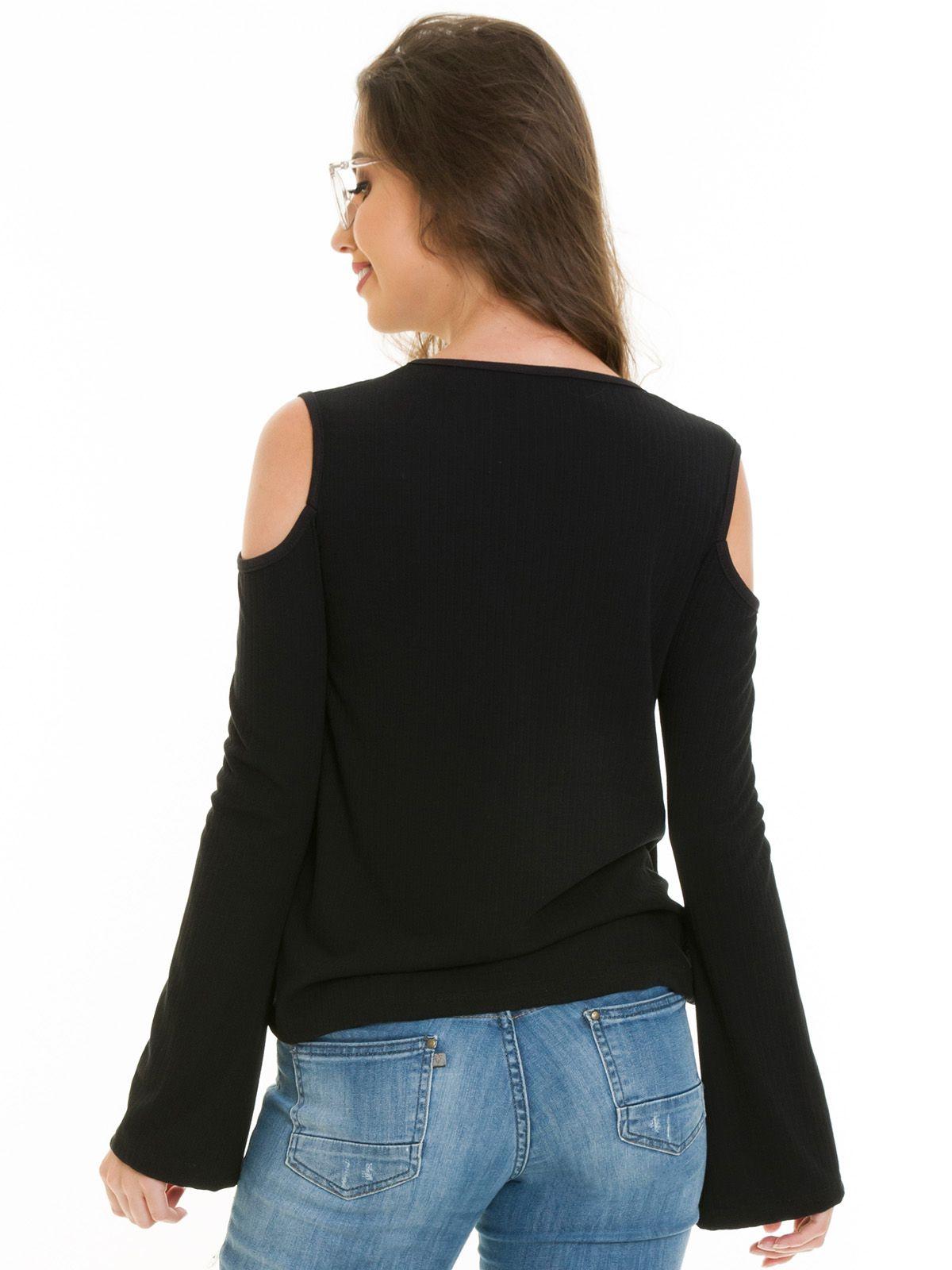 Blusa Ombro Vazado Preta