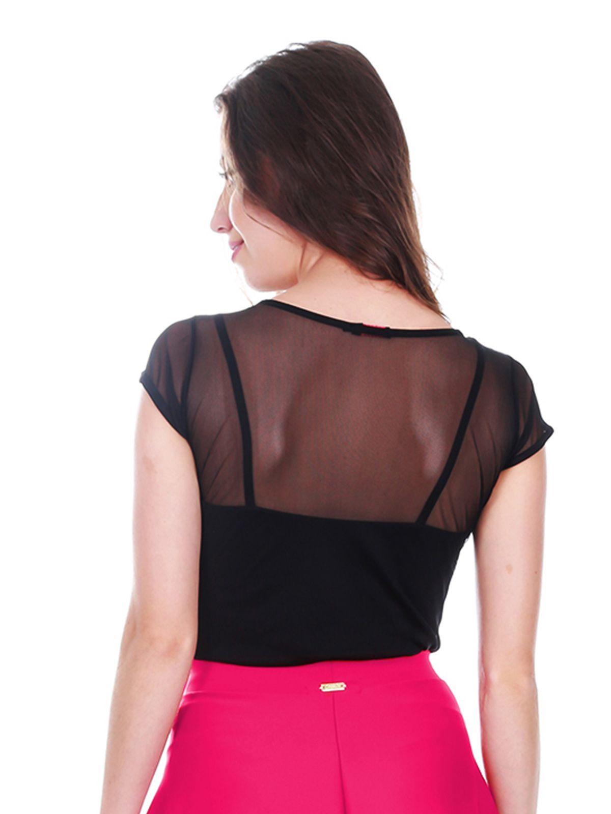 Blusa Preta Transparente com Top