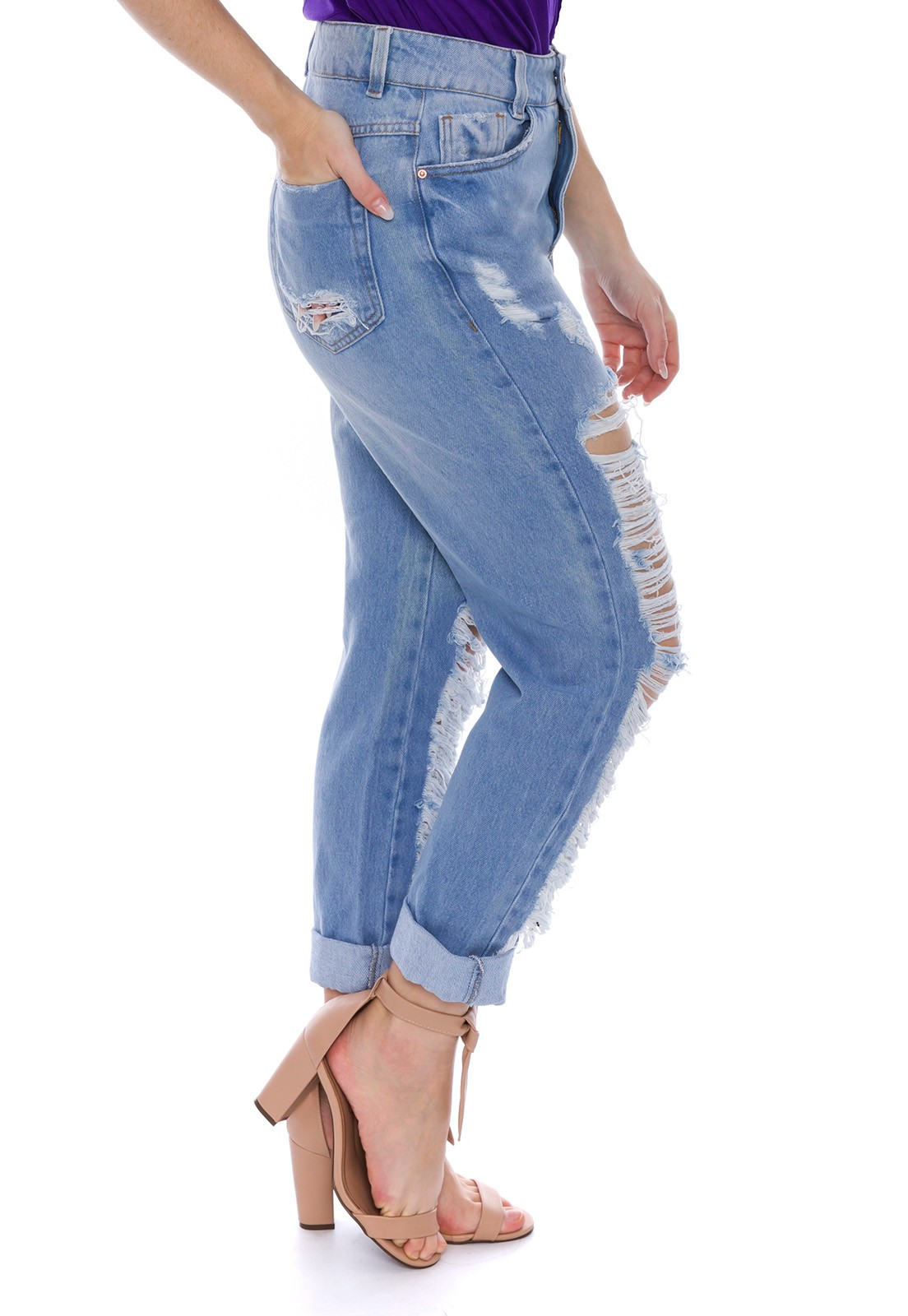 Calça Jeans Mom Destroyed Rasgada