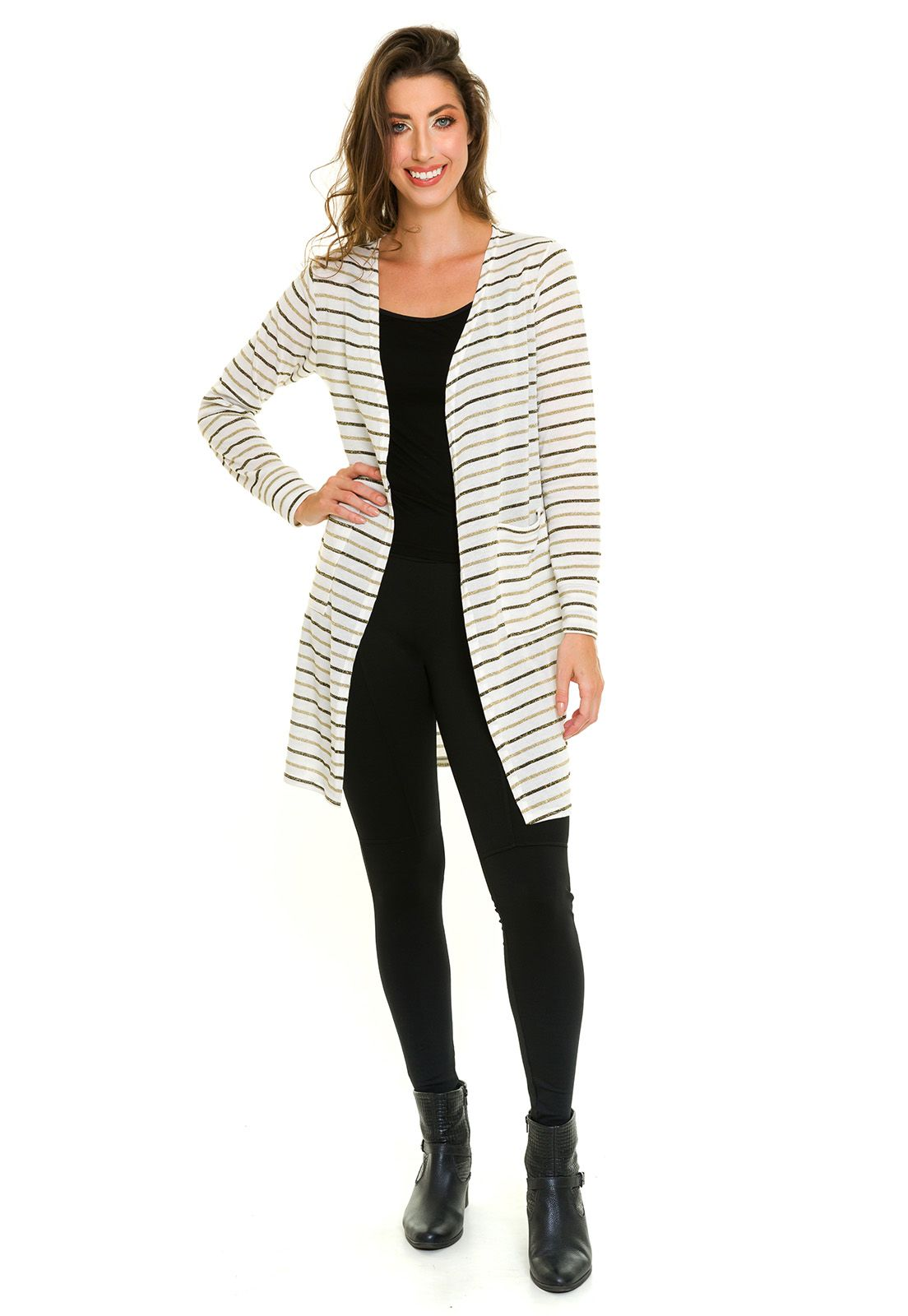 Cardigan Casaco Lurex Listrado Off White
