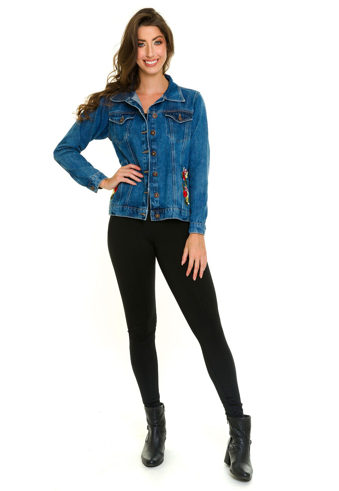 Jaqueta Jeans Com Bolso Bordada