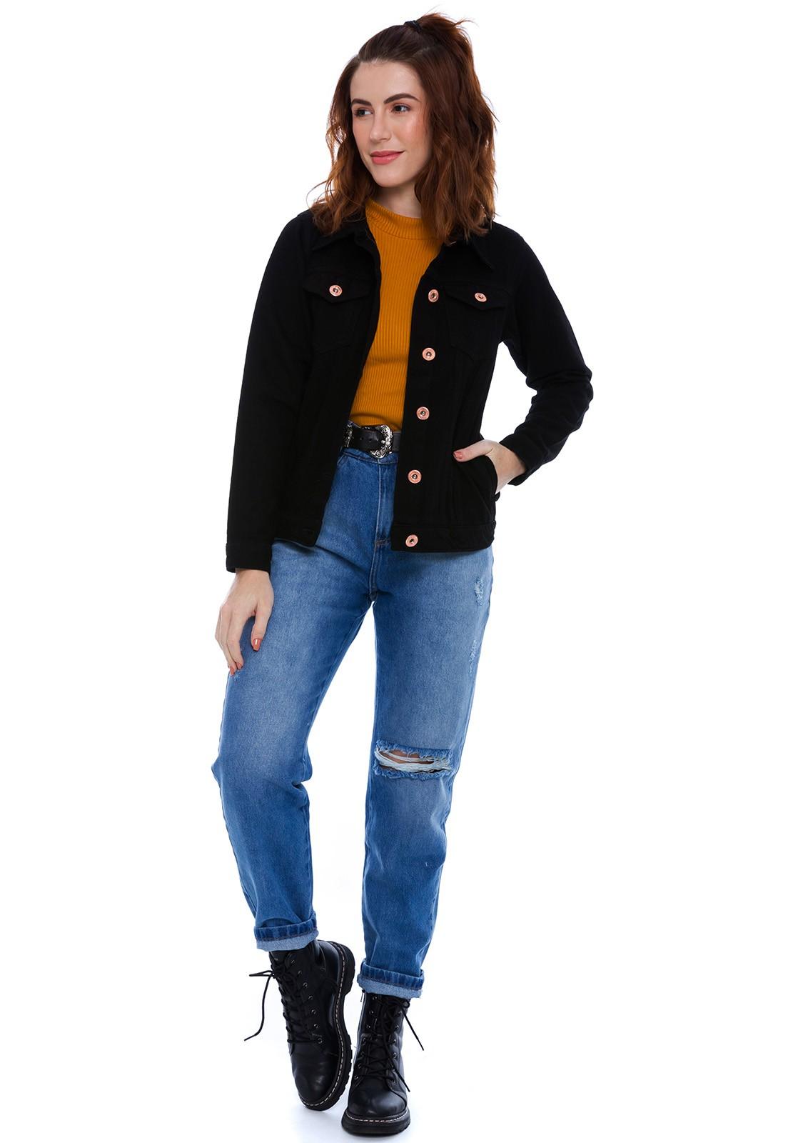 Jaqueta Jeans Com Bolso Preta