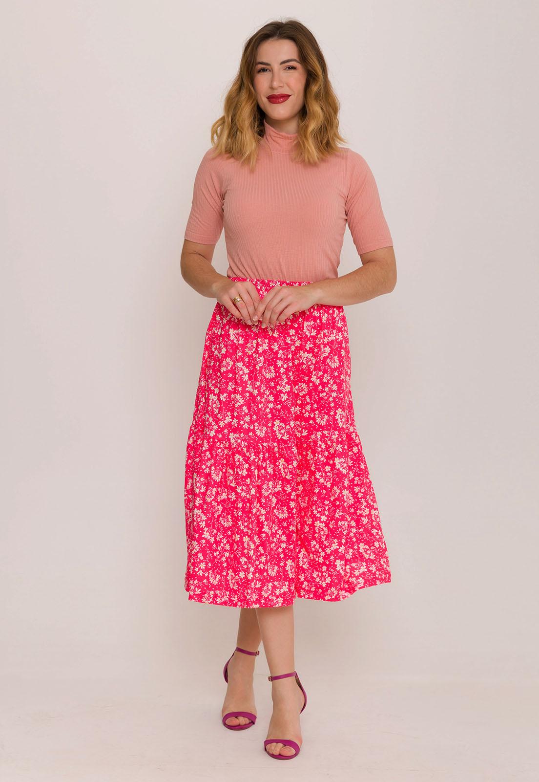Saia Midi Babado Floral Rosa