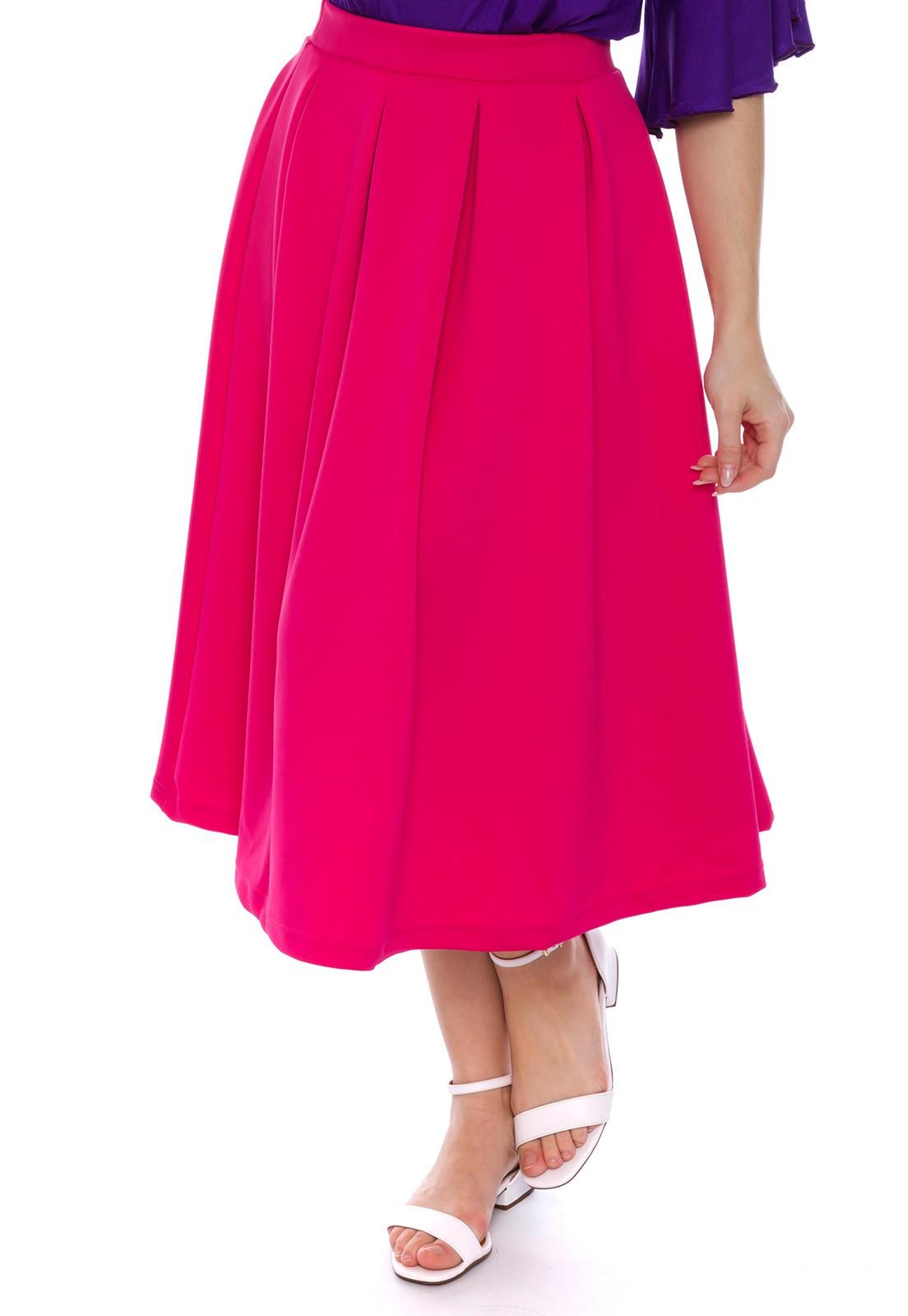 Saia Midi Com Pregas Pink