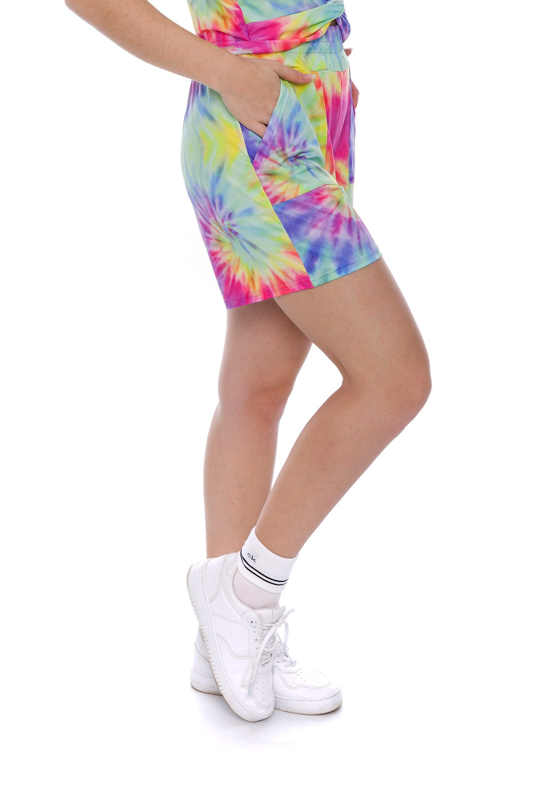 Shorts com Bolsos Tie Dye