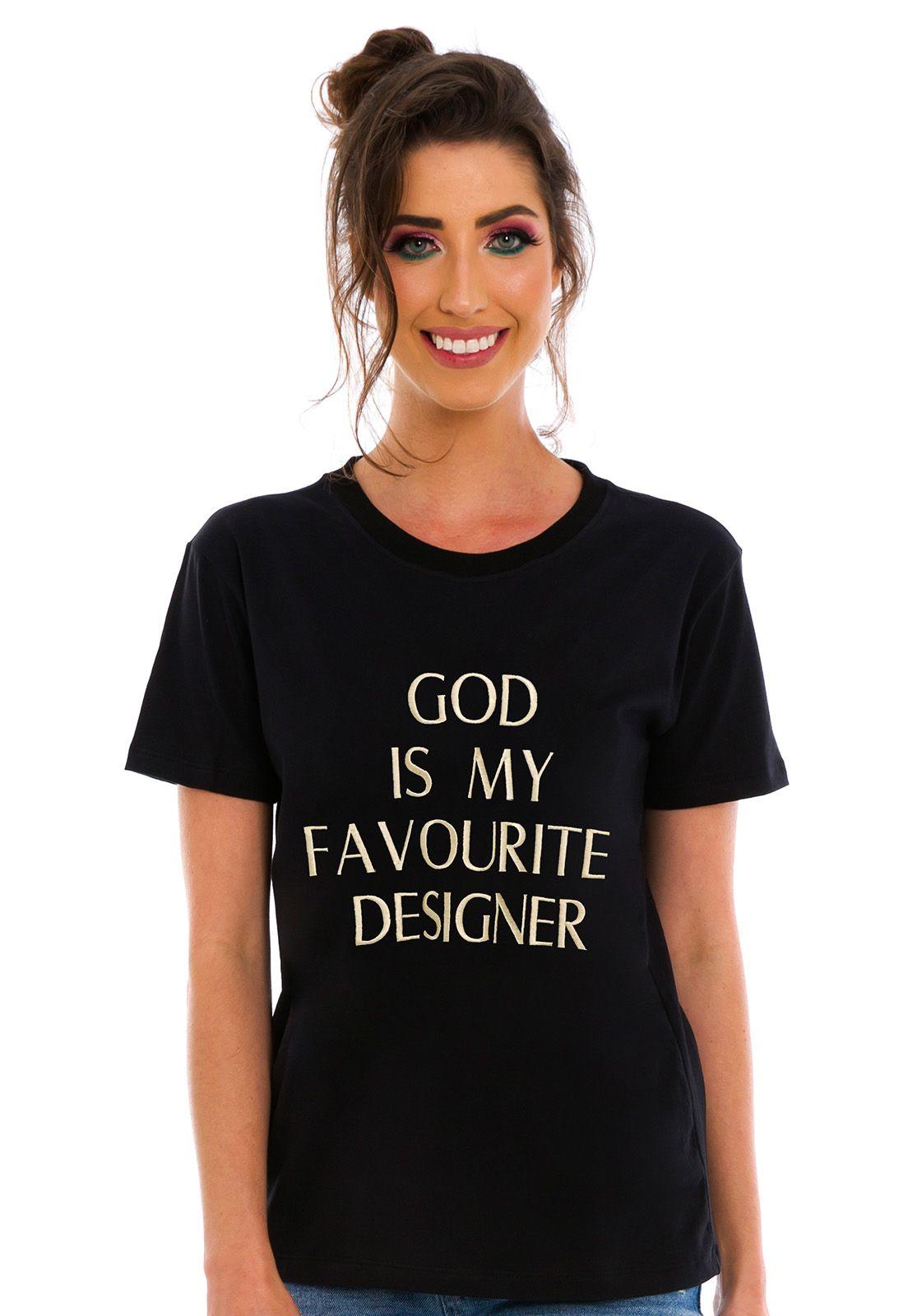 T-shirt Bordada God Preta