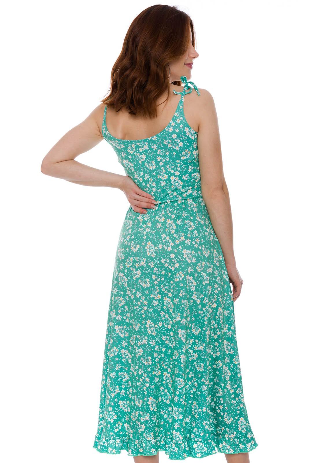 Vestido Alcinha Midi Floral Verde