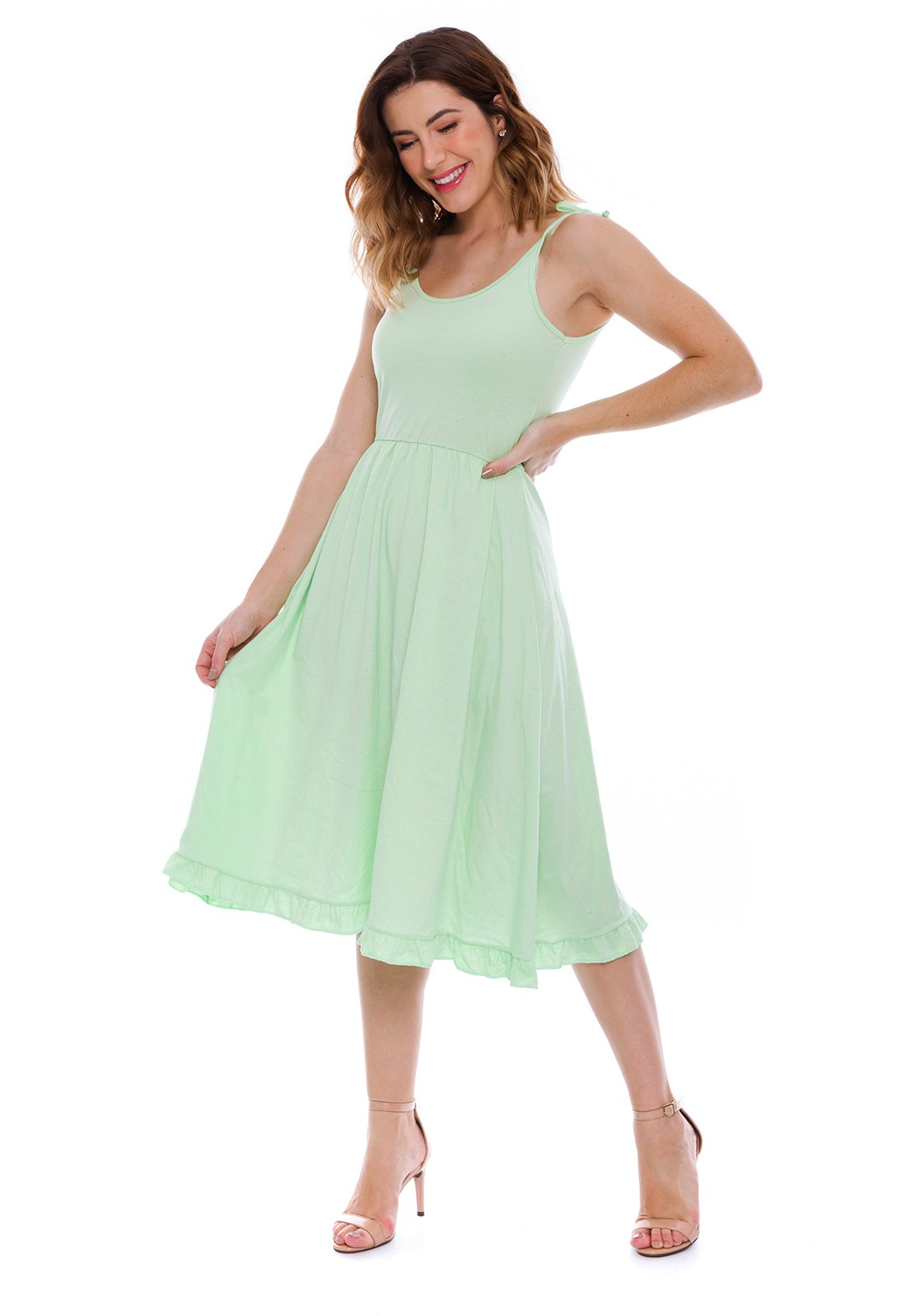 Vestido Alcinha Midi Verde Claro