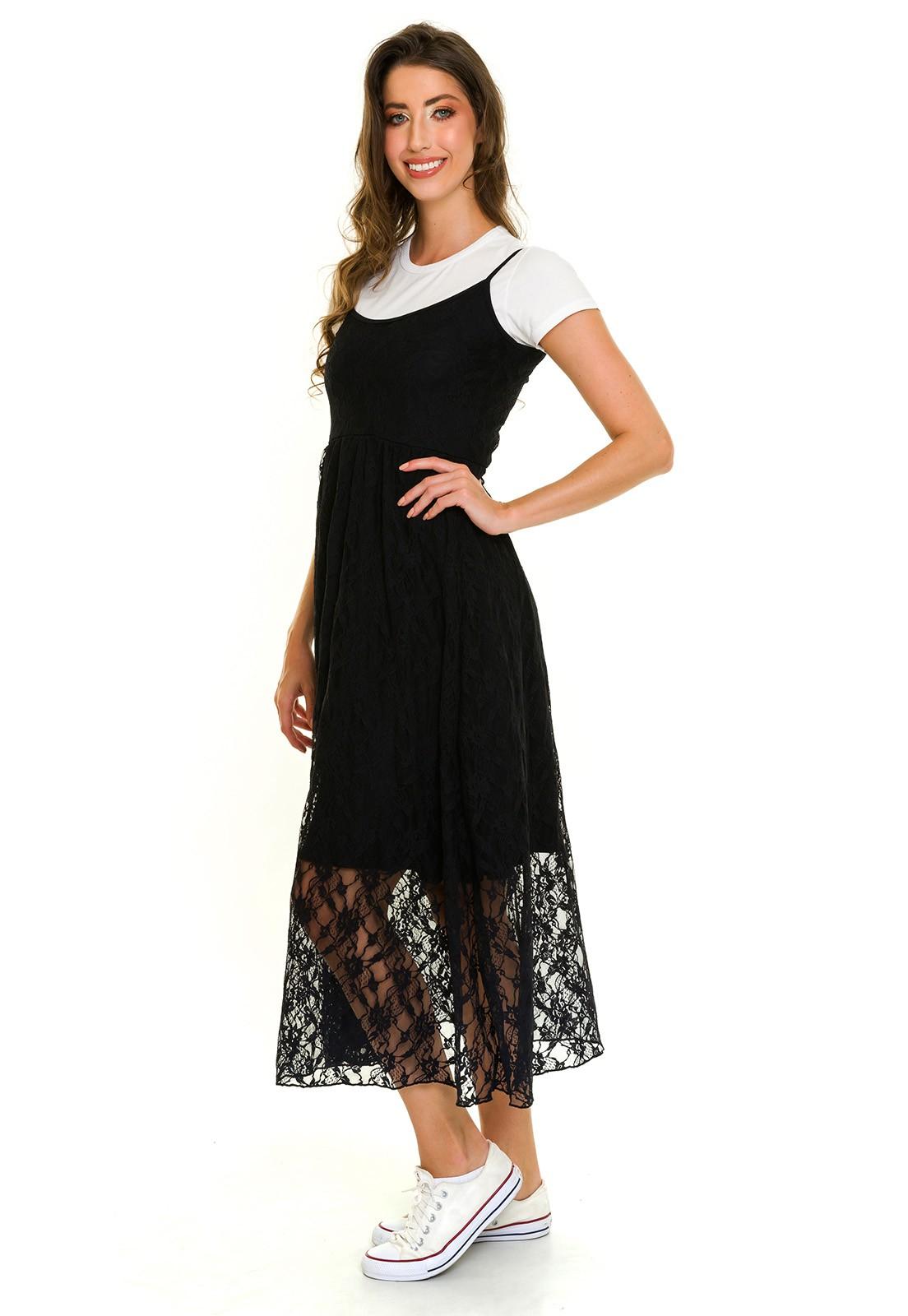 Vestido Alcinha Midi Renda Preto com Sobreposição