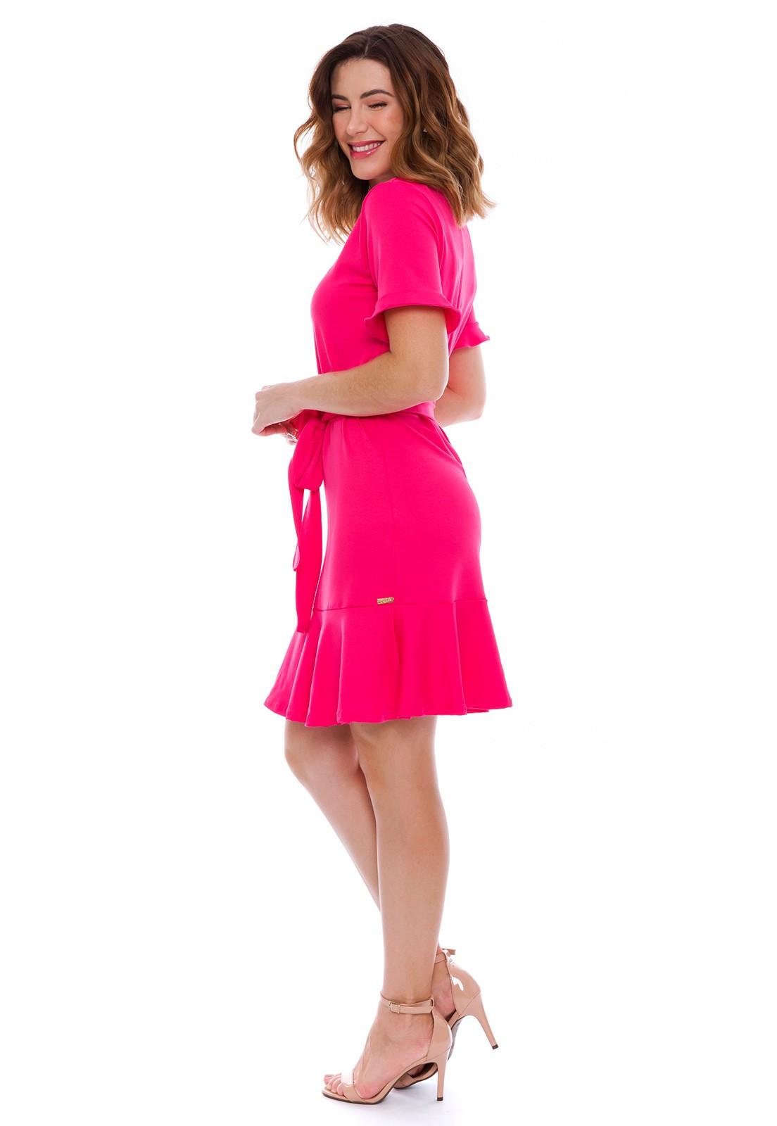 Vestido Babado com Cinto Rosa