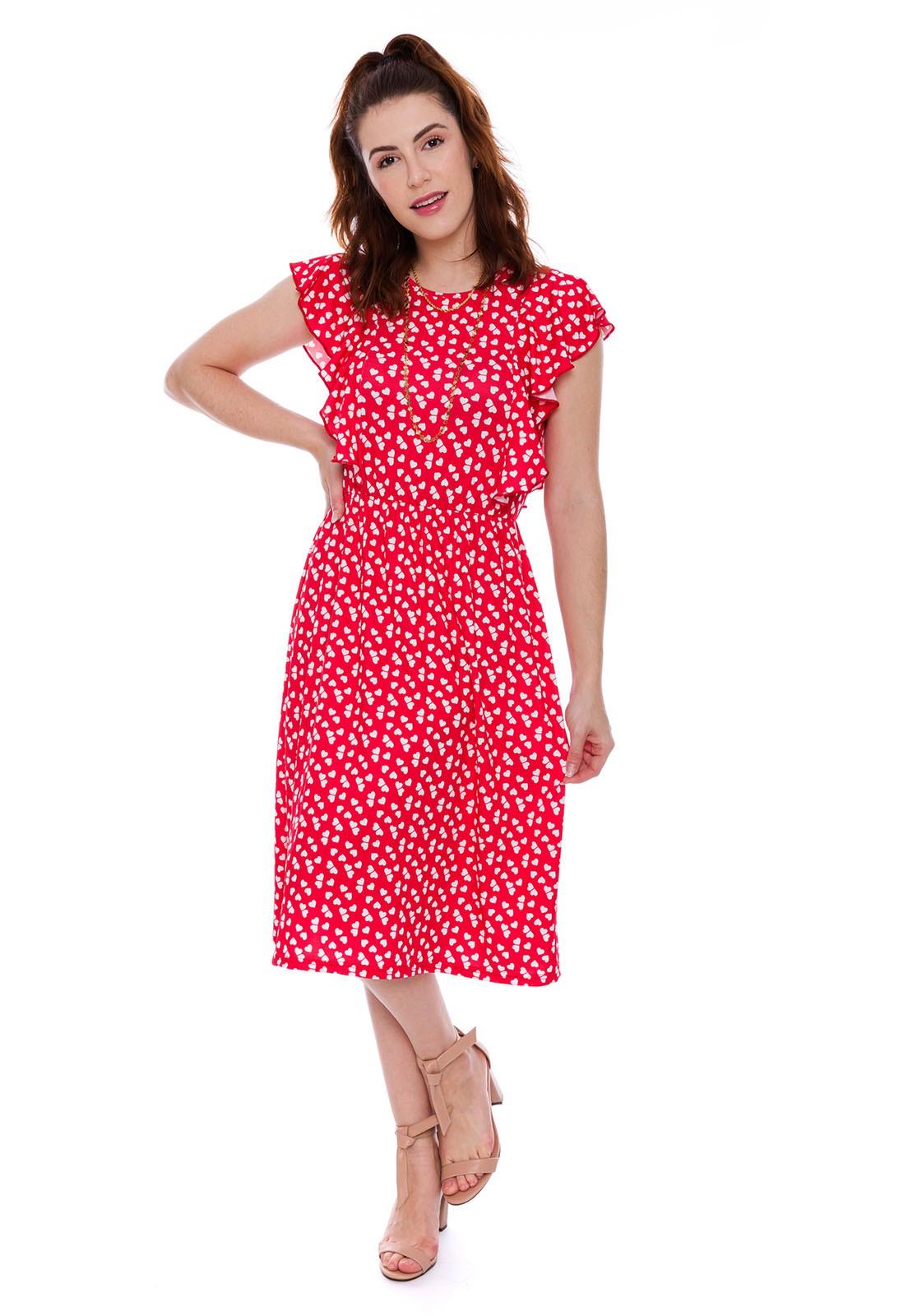 Vestido Babado Estampado Coração Vermelho
