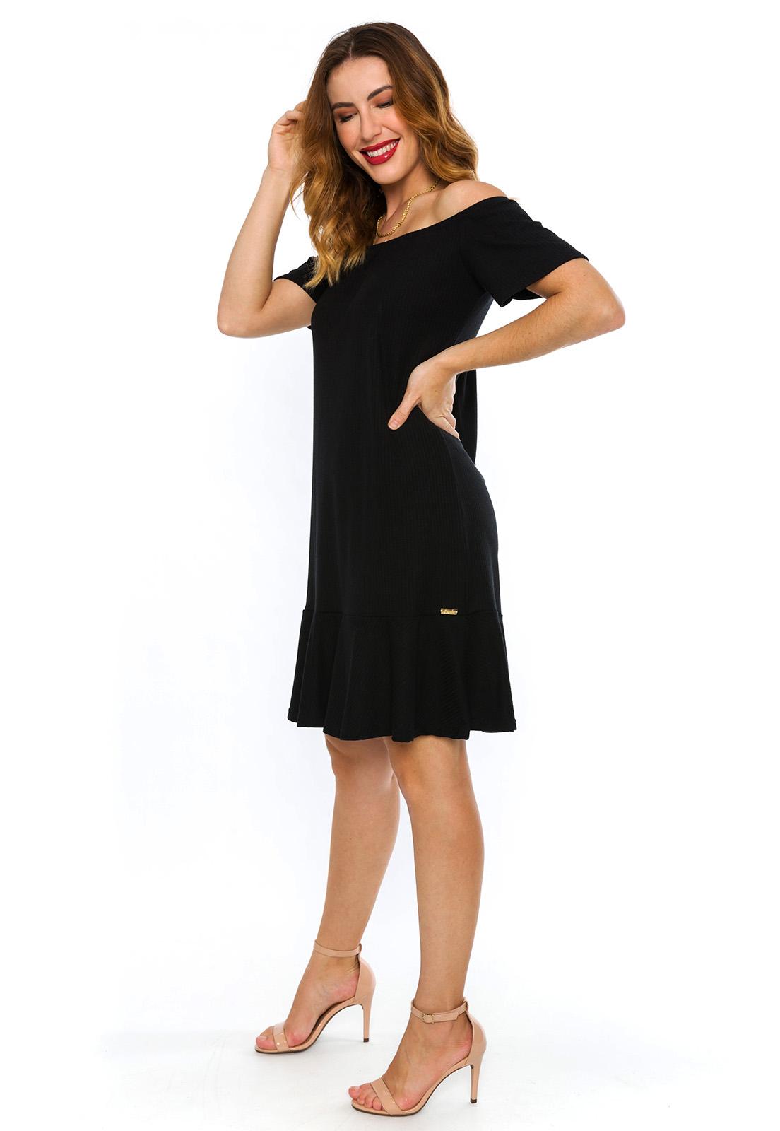 Vestido Canelado Ciganinha Preto