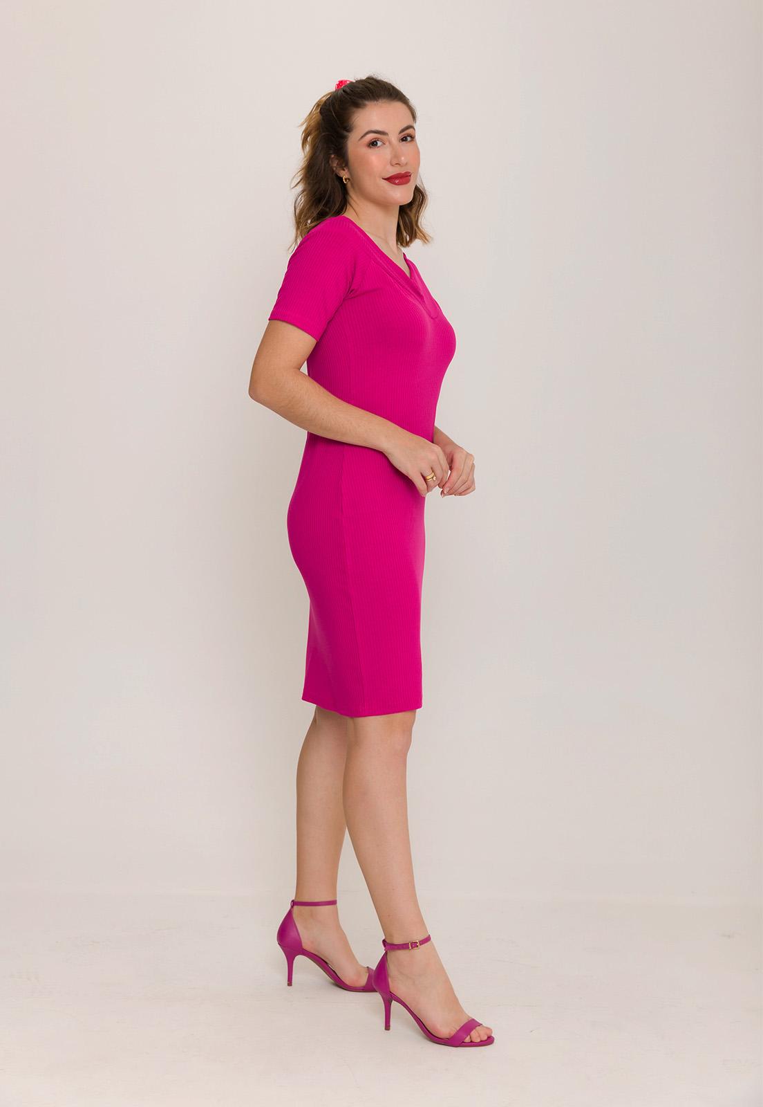 Vestido Canelado Decote V Pink