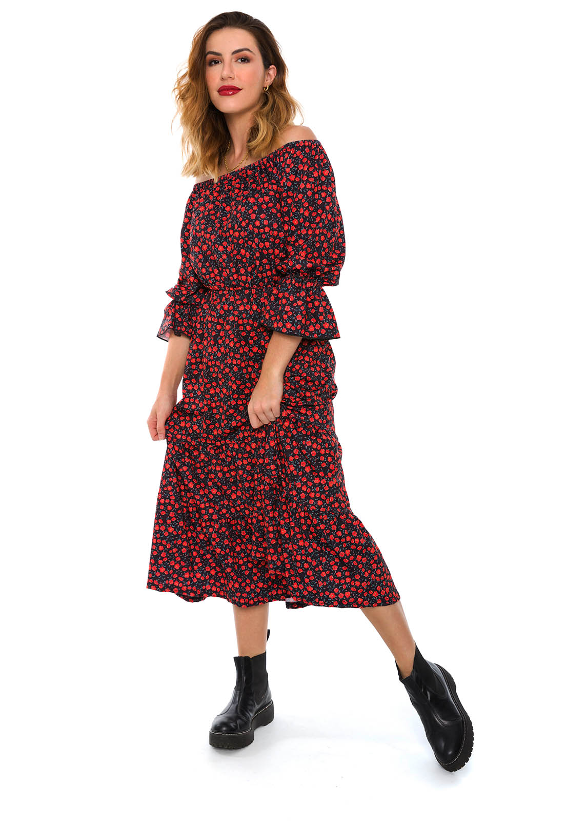 Vestido Ciganinha Estampado Mini Floral