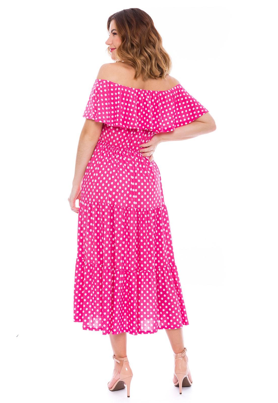Vestido Ciganinha Estampado Poá Rosa