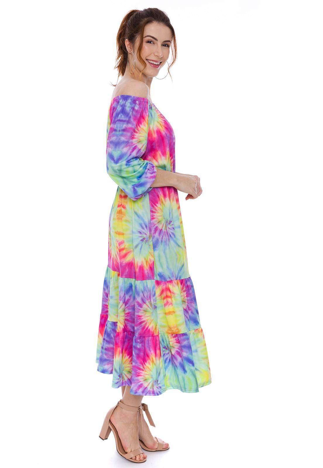 Vestido Ciganinha Estampado Tie Dye