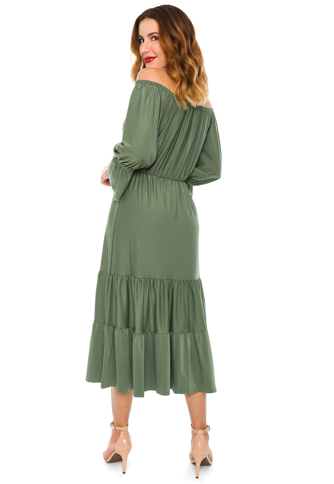 Vestido Ciganinha Midi Verde Oliva