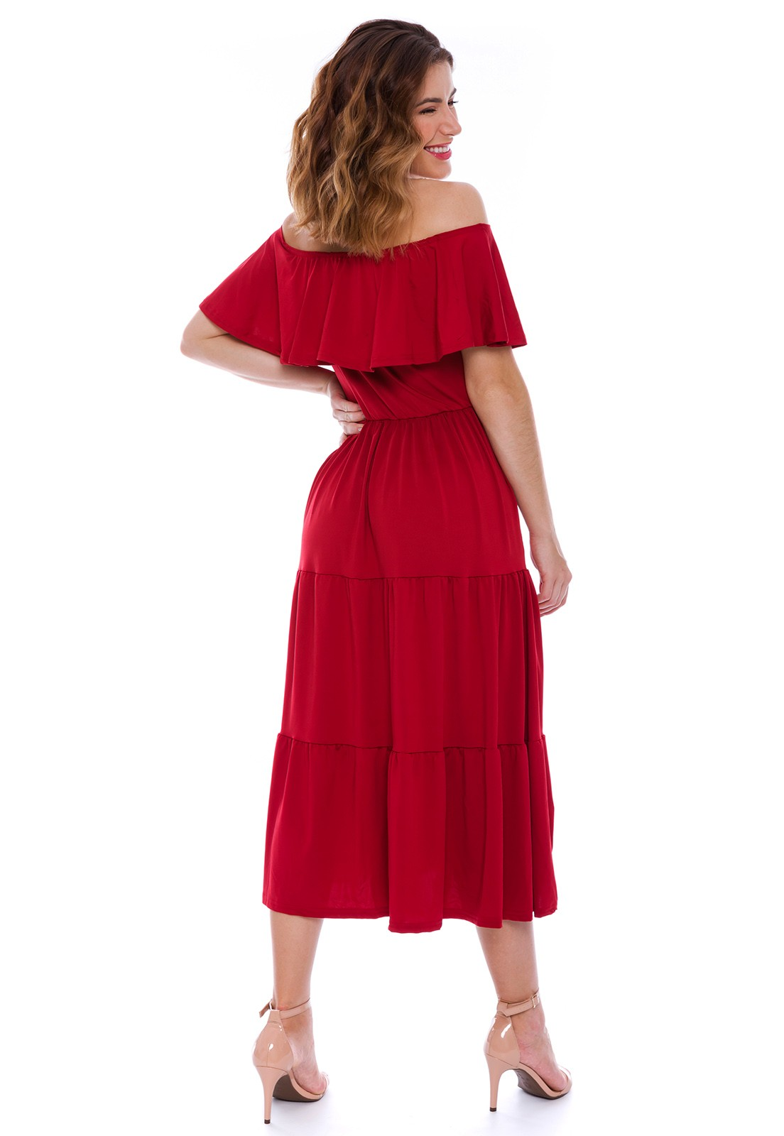 Vestido Ciganinha Midi Vermelho