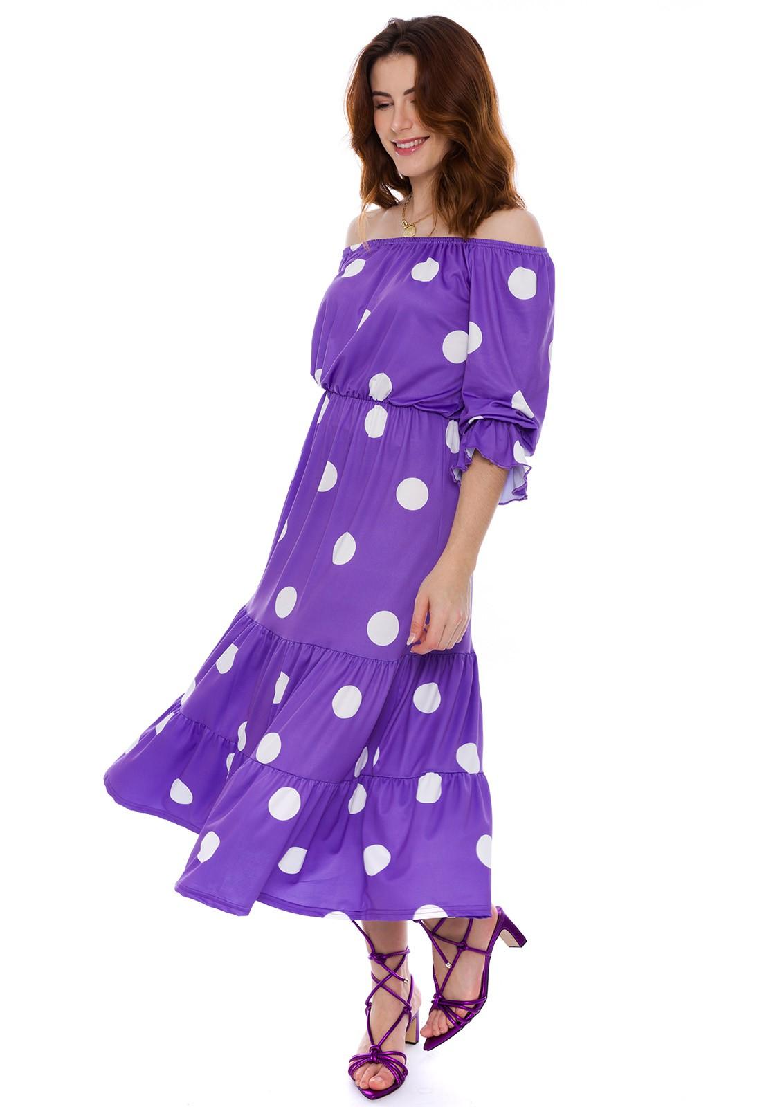 Vestido Ciganinha Poá Violeta