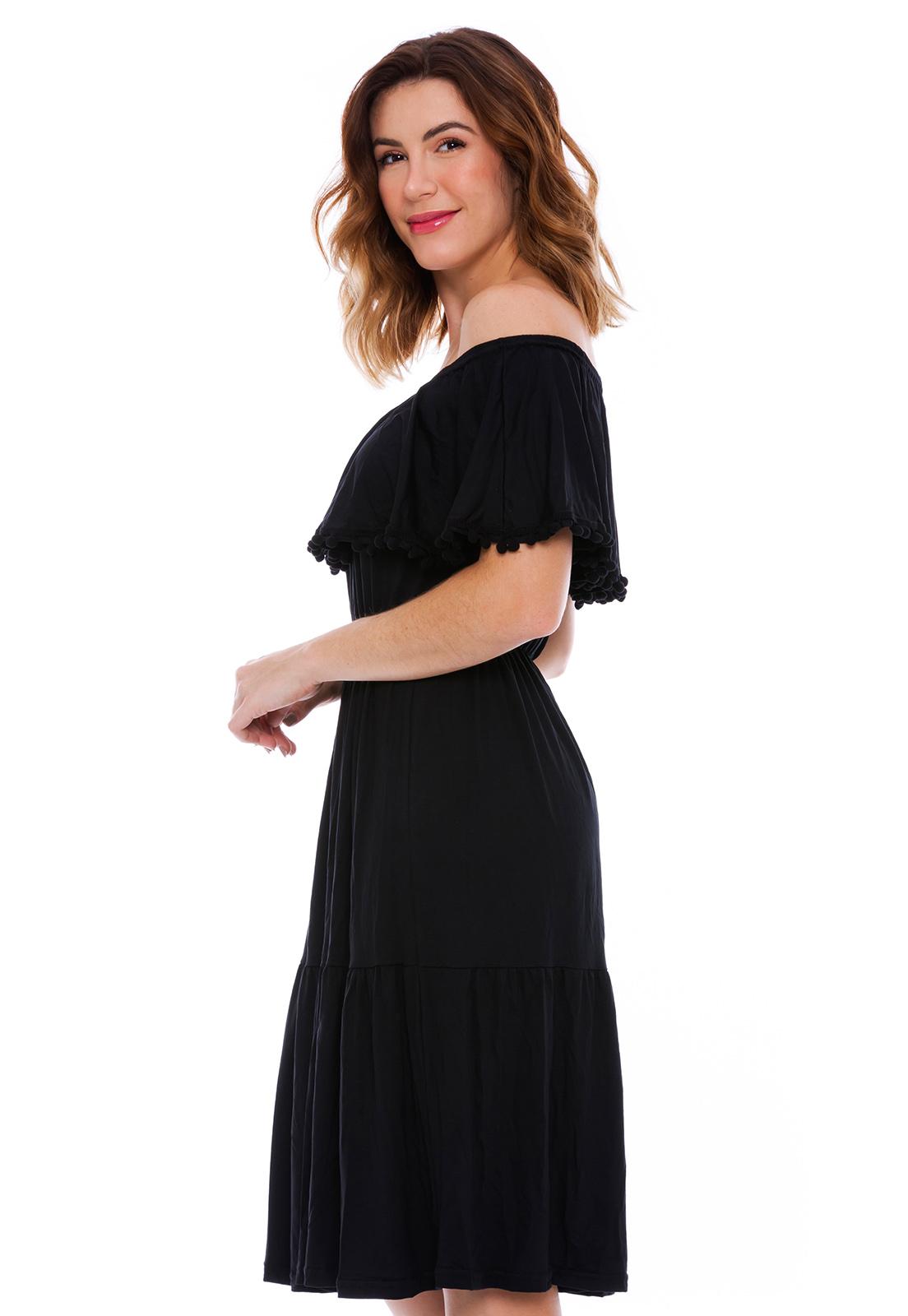 Vestido Ciganinha Preto com Pompom