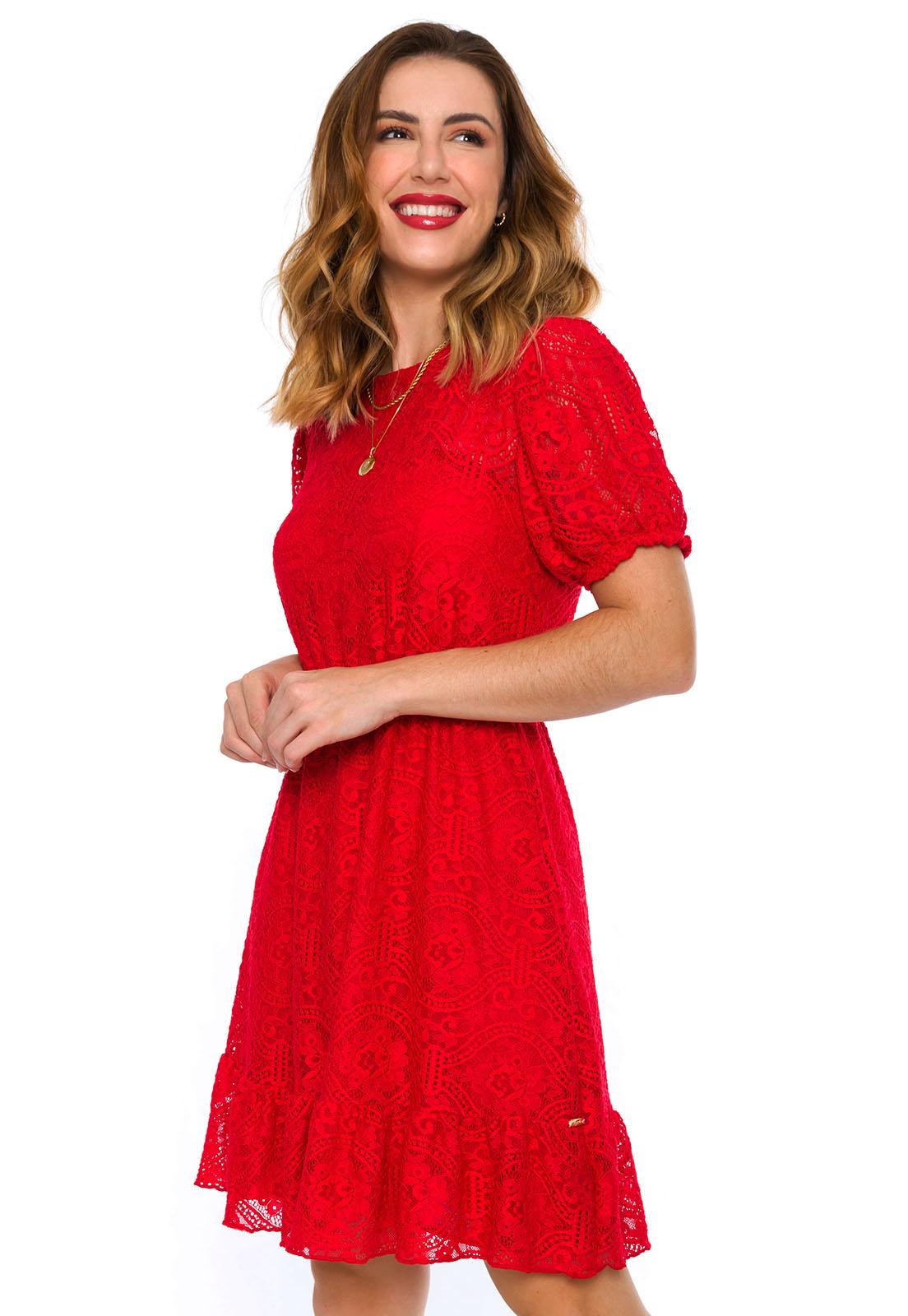 Vestido Curto Renda Vermelho