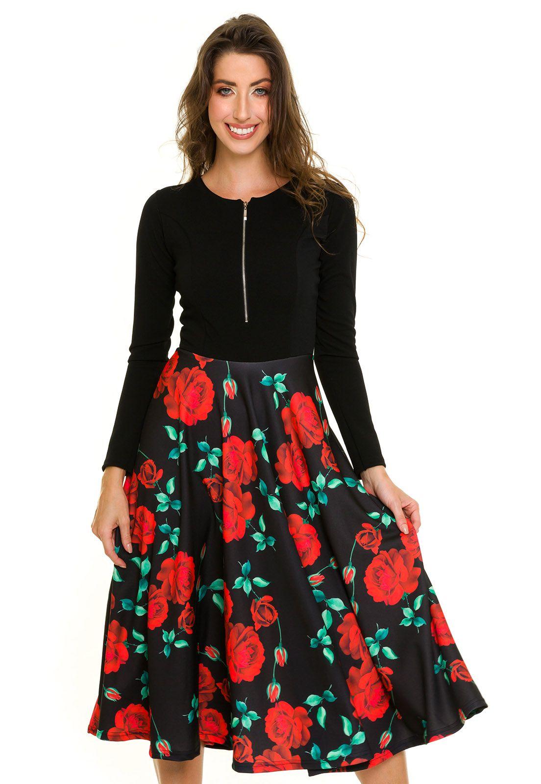 Vestido Godê Com Zíper Bicolor