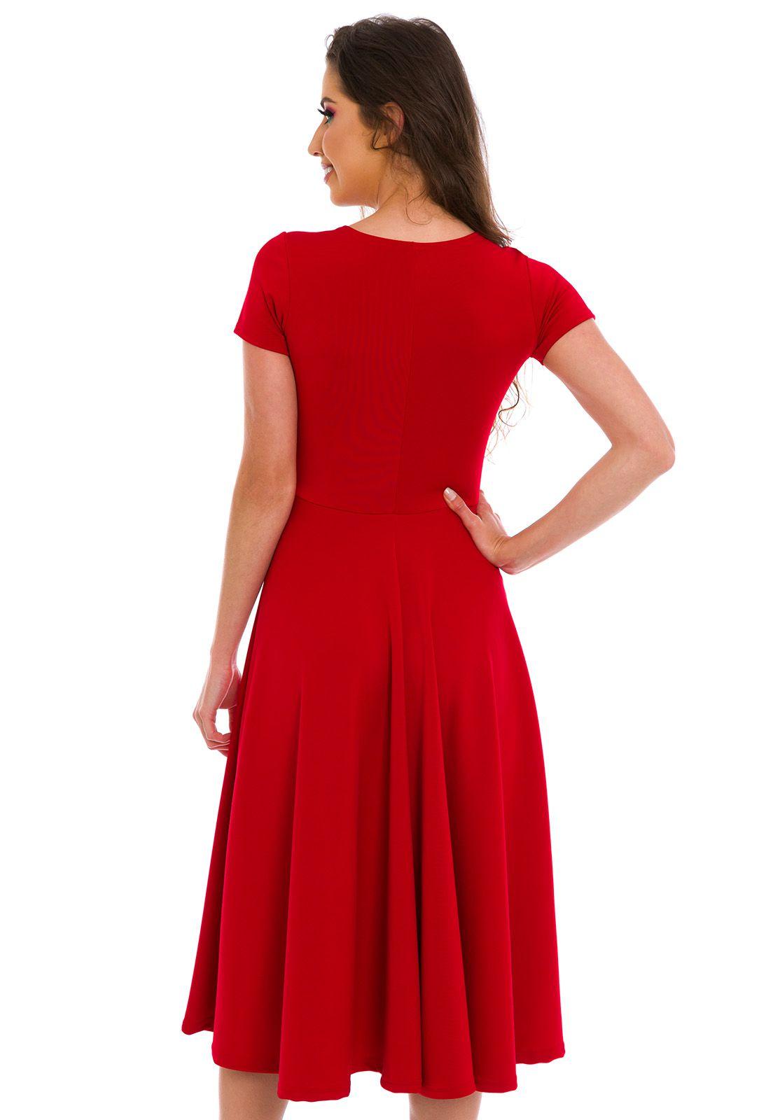 Vestido Godê Com Zíper Vermelho