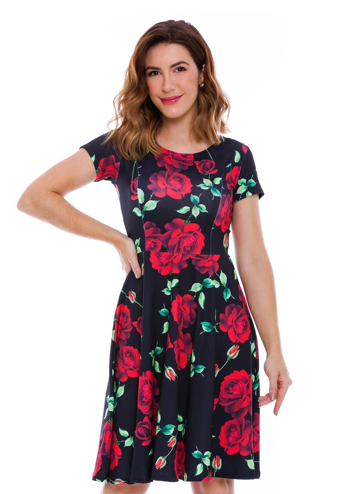 Vestido Godê Curto Estampado Floral