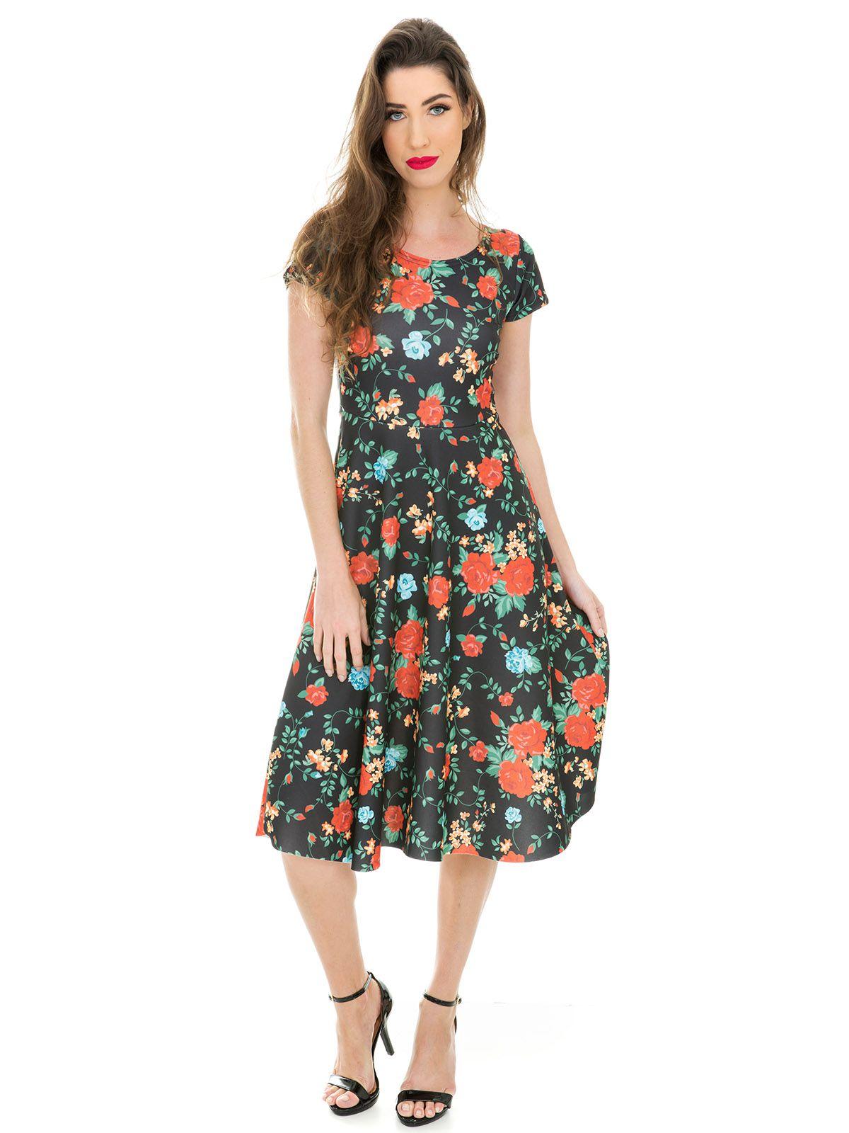 Vestido  Godê Midi Floral Preto