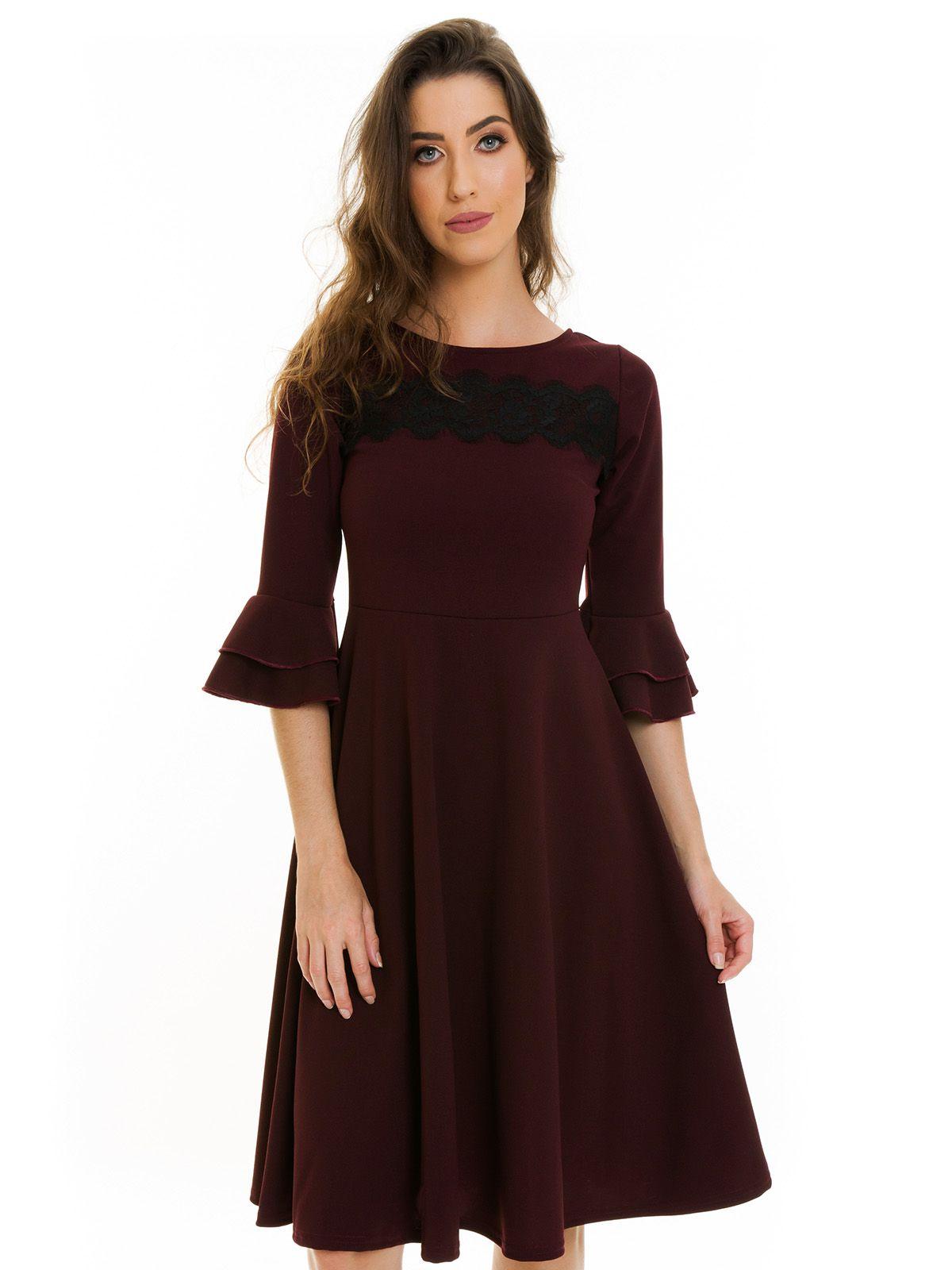 Vestido Godê Midi Marsala