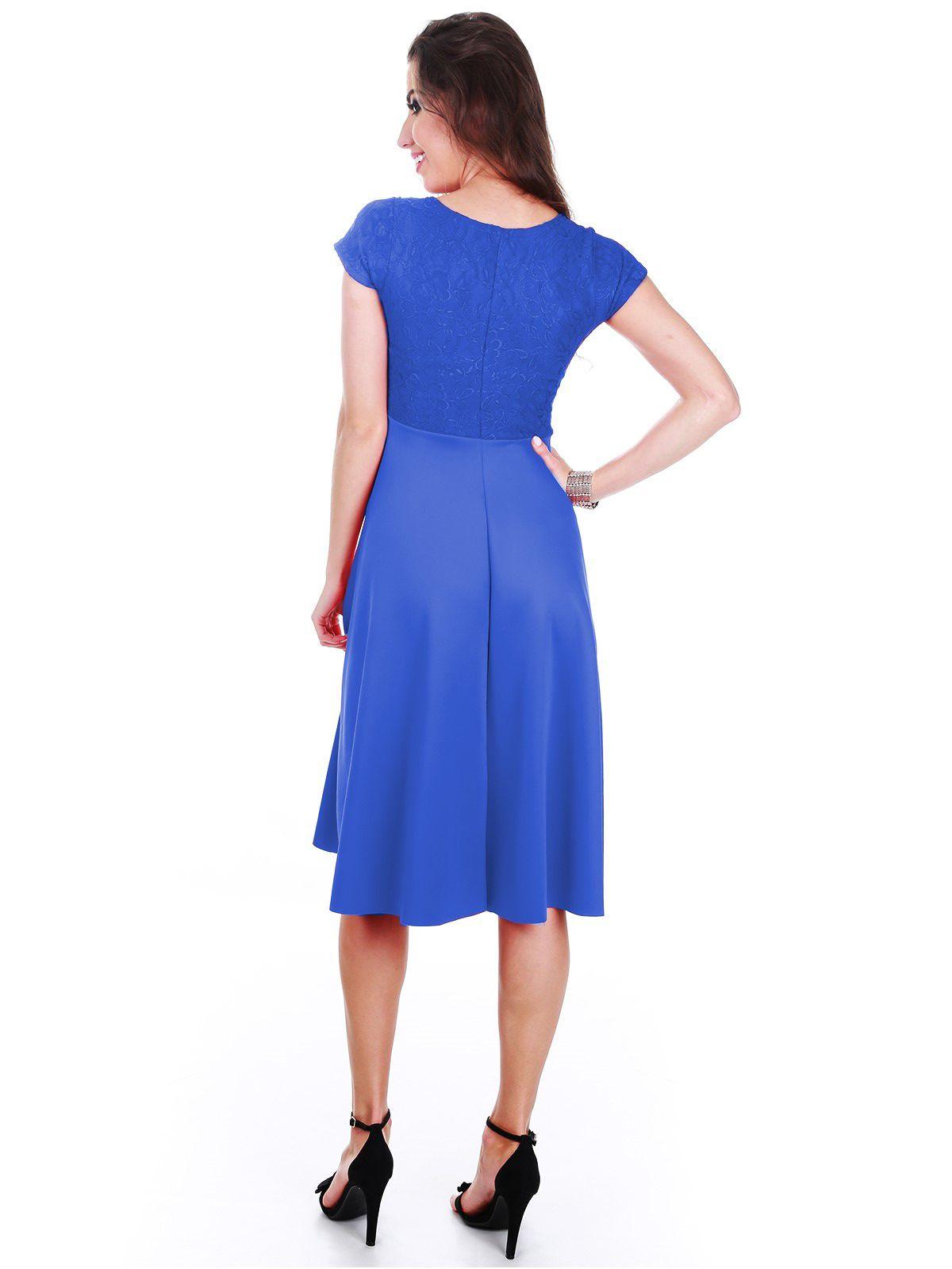 Vestido Godê Renda Azul
