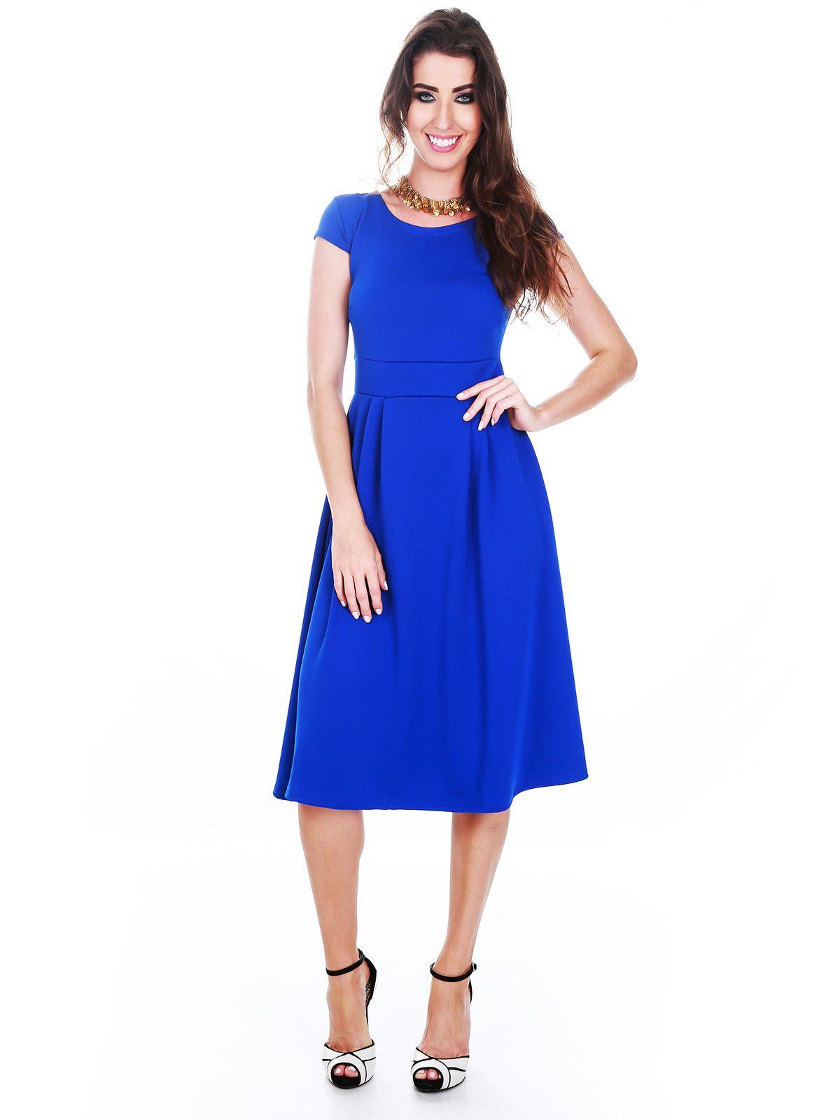 Vestido Evasê Midi Azul