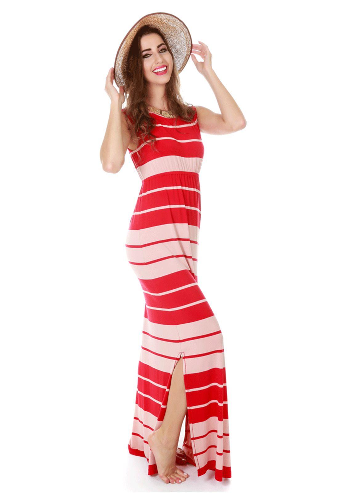 Vestido Longo com fenda Vermelho