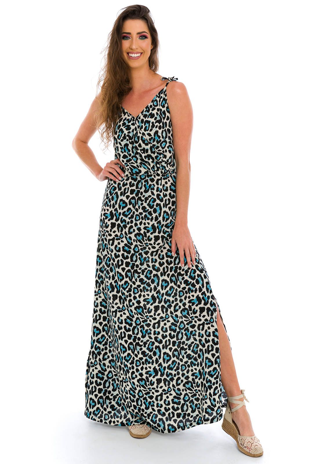 Vestido Longo Traspassado Animal Print