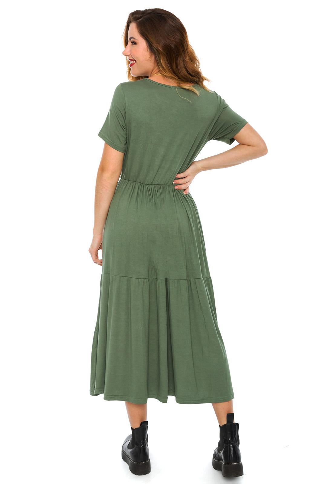 Vestido Midi Babados Verde Oliva