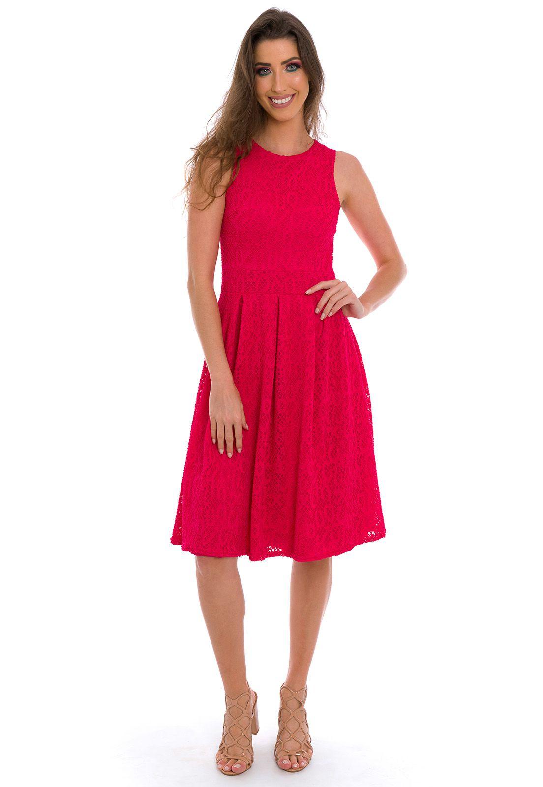 Vestido Midi Com Pregas Rosa Pink