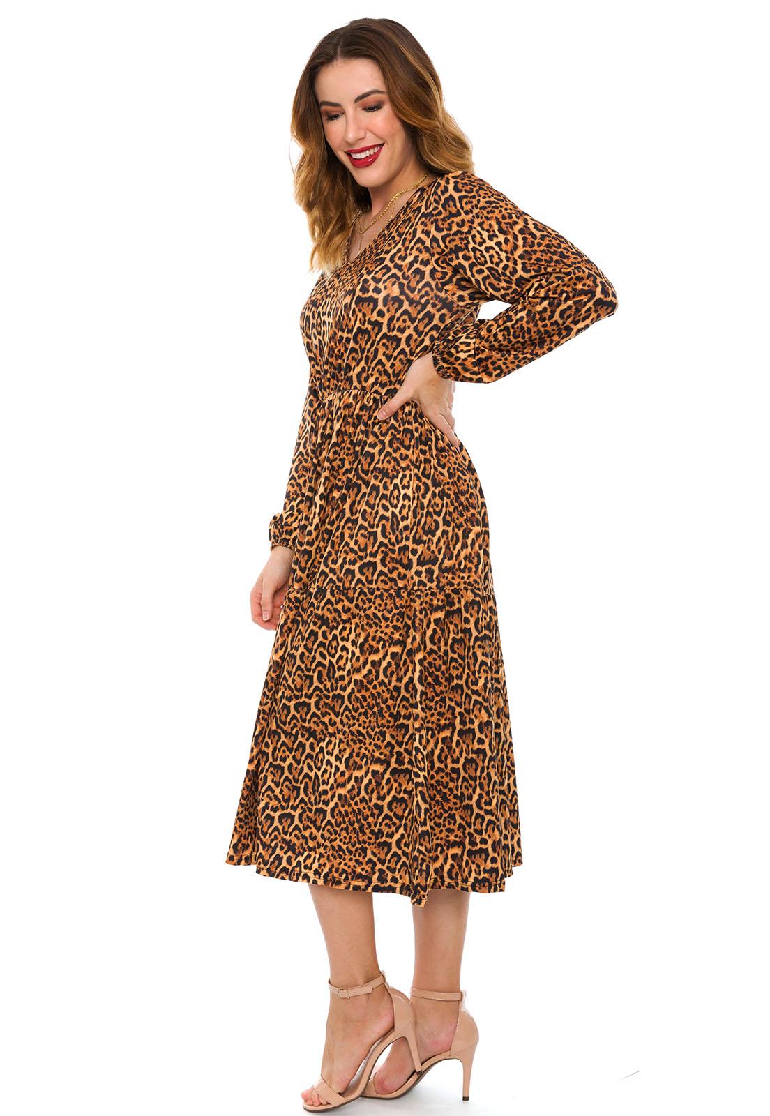 Vestido Midi Estampado Animal Print Onça