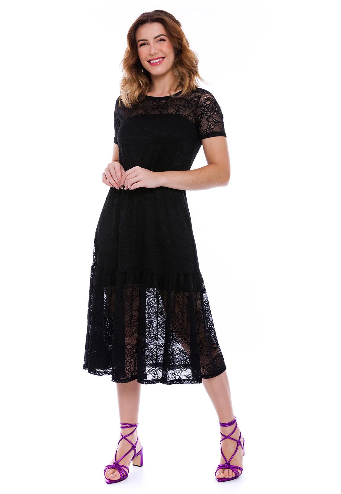 Vestido Midi Lady Renda Preto