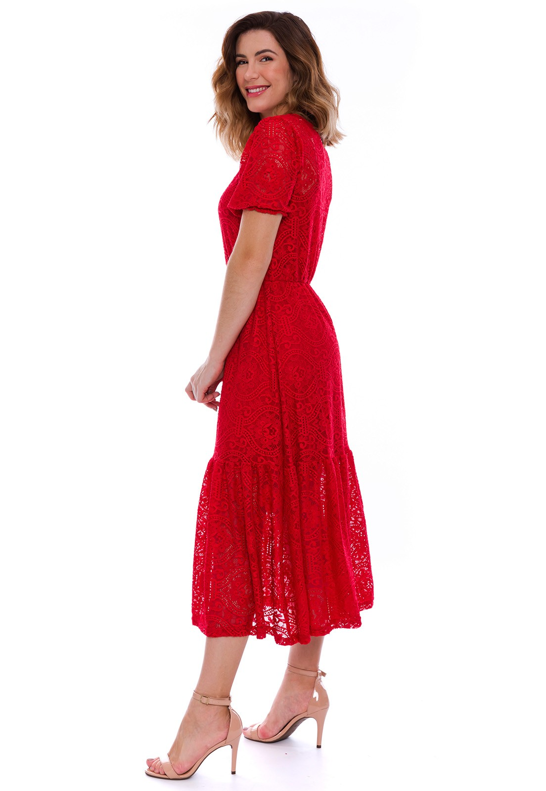 Vestido Midi Lady Renda Vermelho