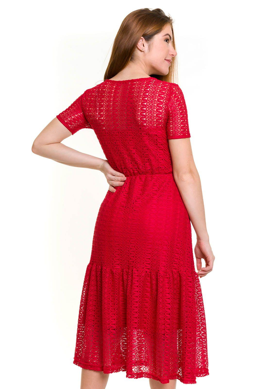 Vestido Midi Lady Vermelho