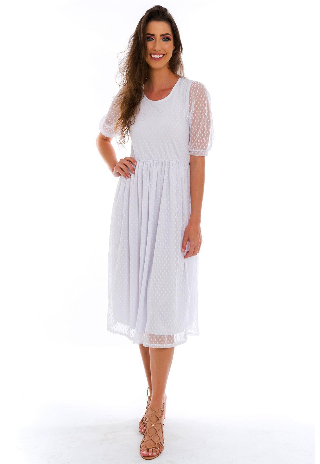 Vestido Midi Tule Poá Branco